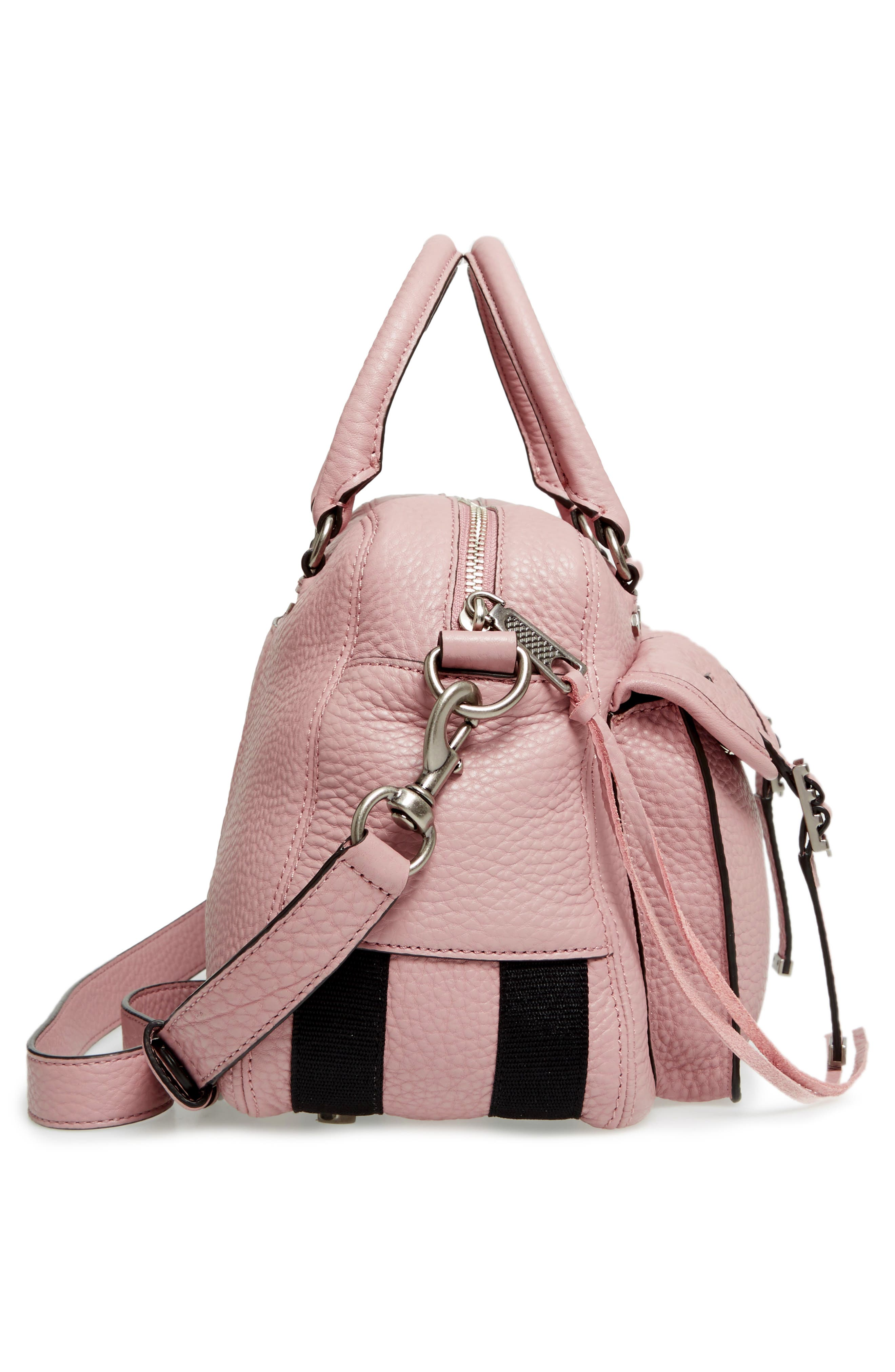 Military Pocket Leather Satchel,                             Alternate thumbnail 5, color,                             Vintage Pink