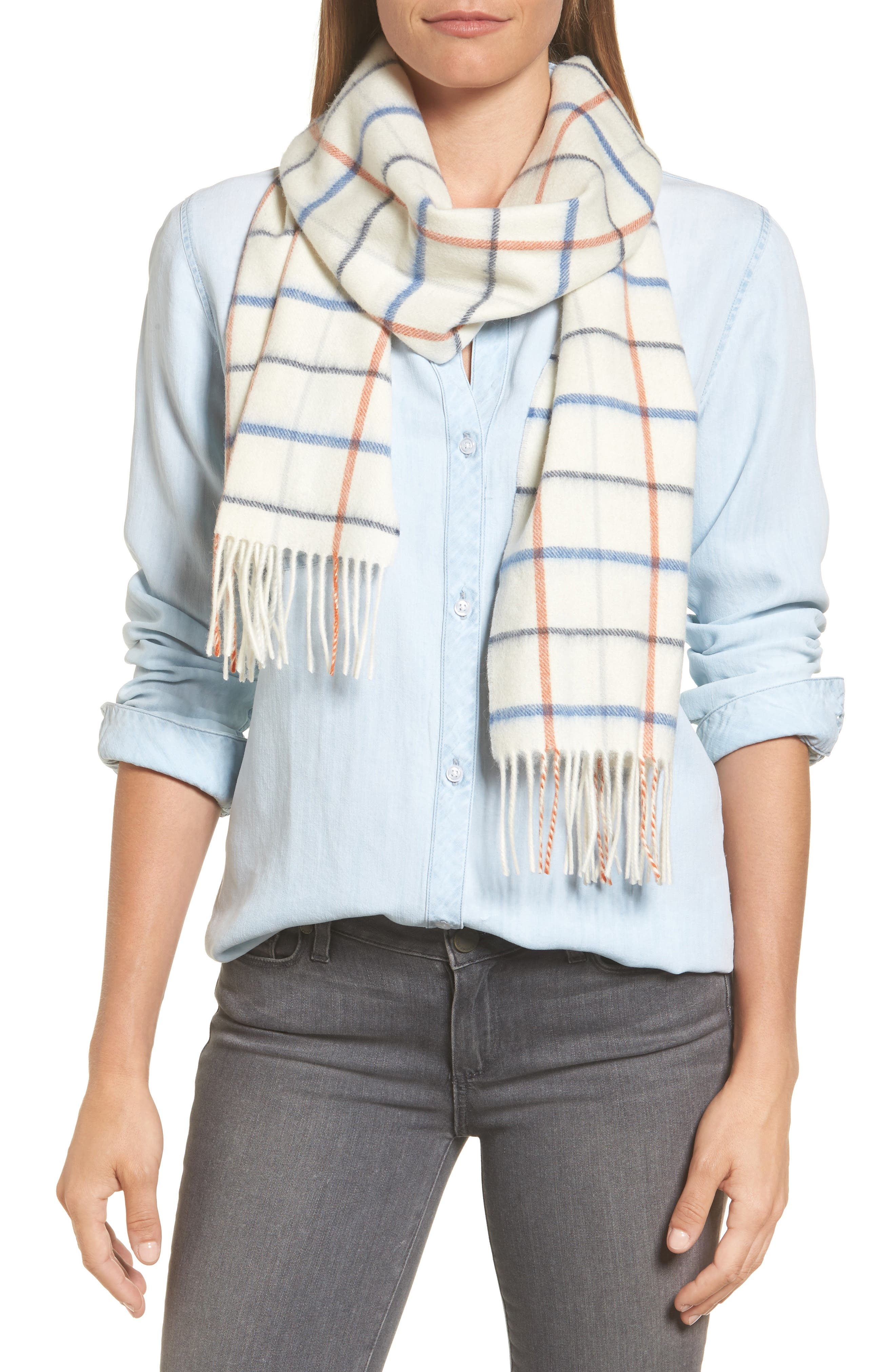 Country Tattersall Lambswool Scarf,                         Main,                         color, Arctic Plaid