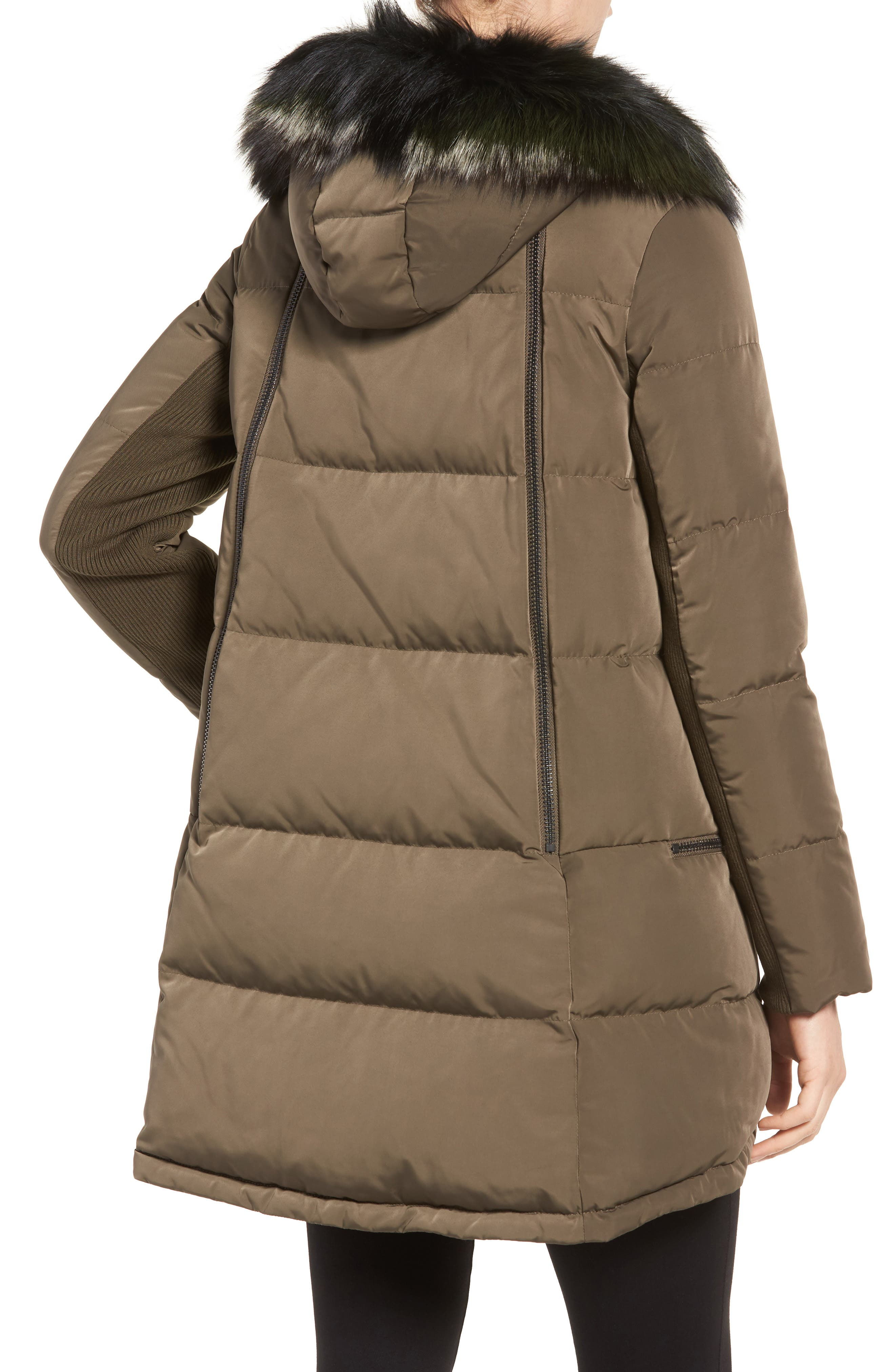 Relaxed Water Resistant Down Parka with Genuine Fox Fur Trim,                             Alternate thumbnail 2, color,                             Loden