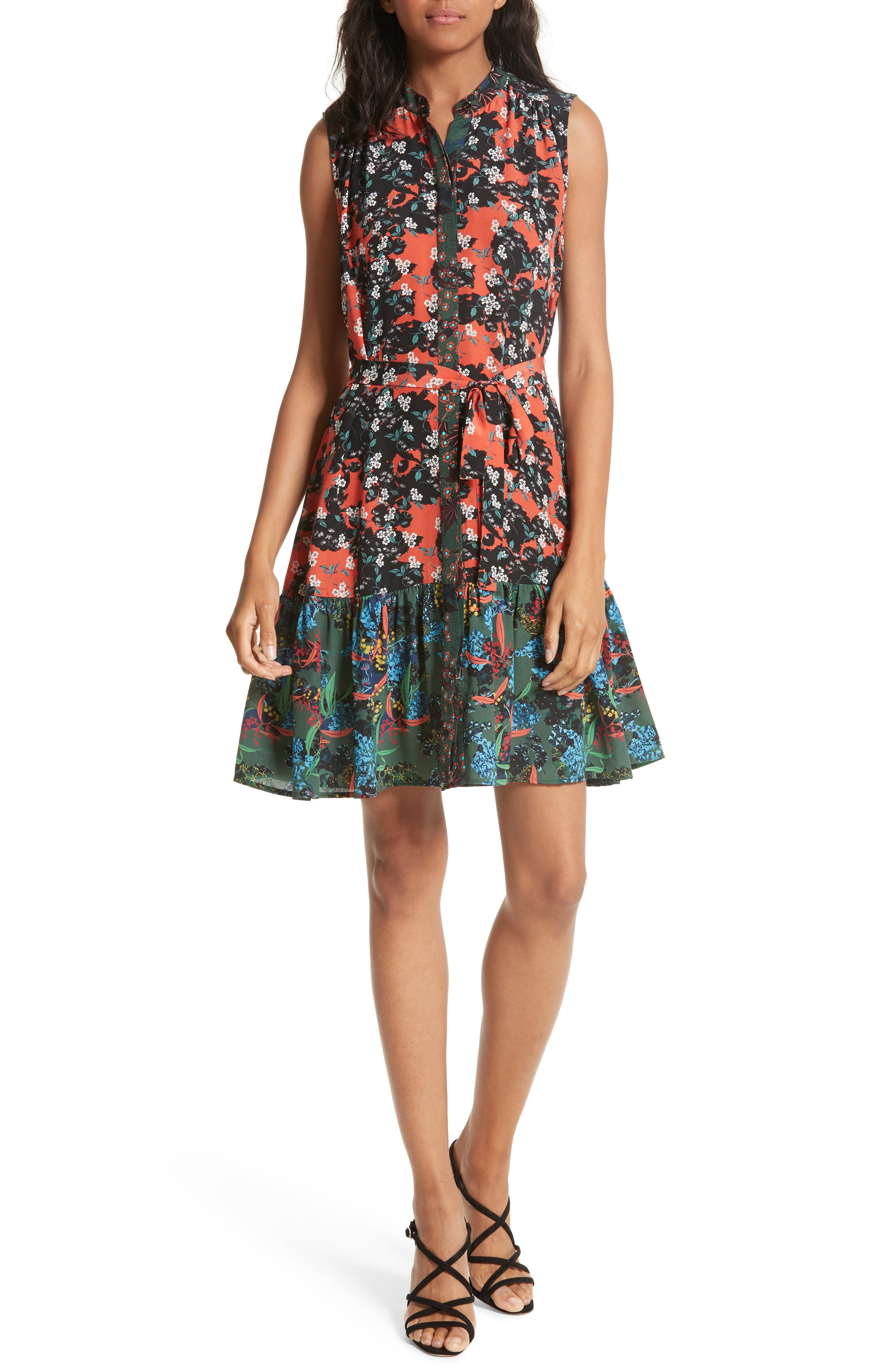 Tilly Print Silk Fit & Flare Dress,                             Main thumbnail 1, color,                             Coral Orchid/ Forest