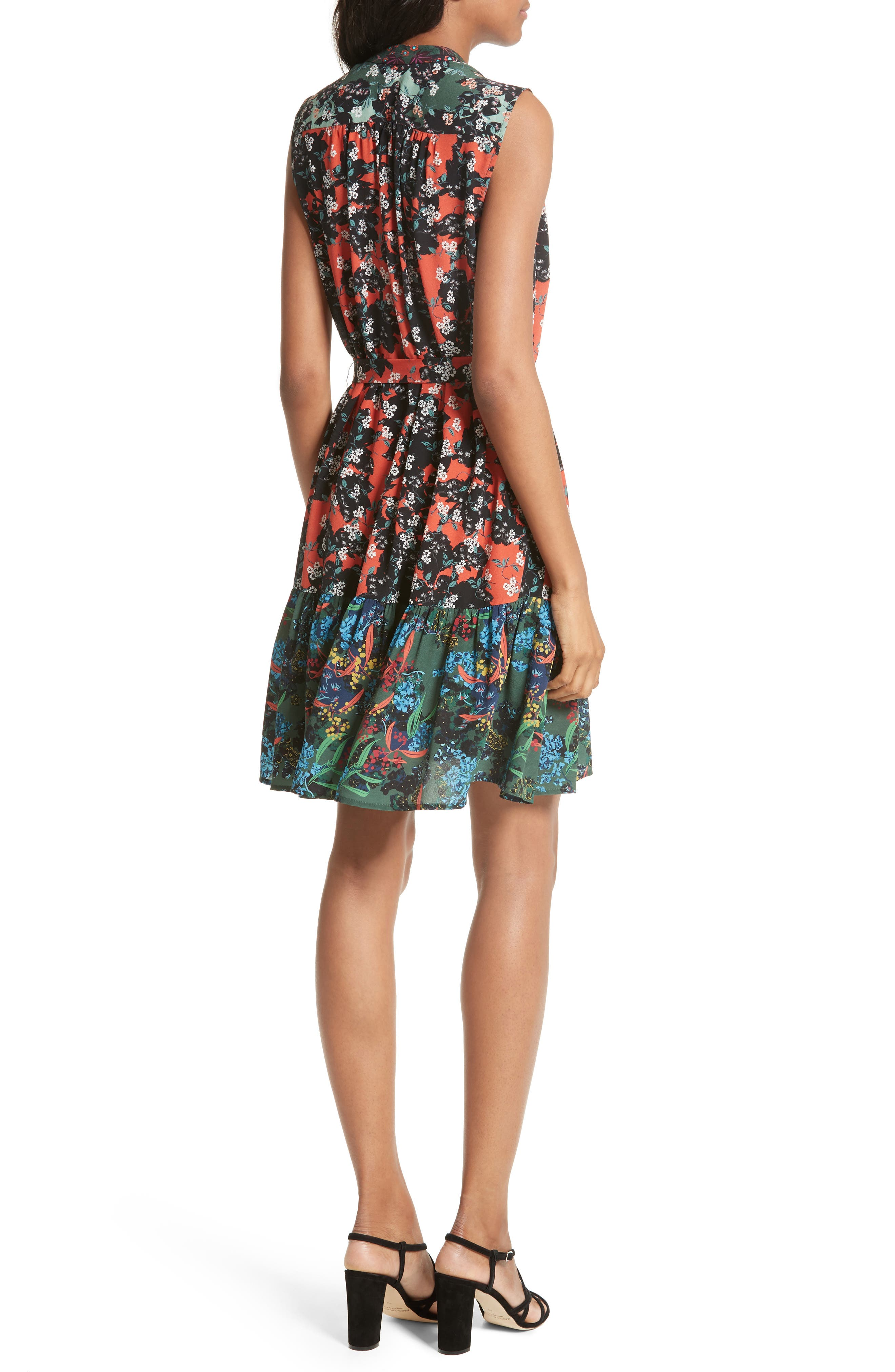 Tilly Print Silk Fit & Flare Dress,                             Alternate thumbnail 2, color,                             Coral Orchid/ Forest