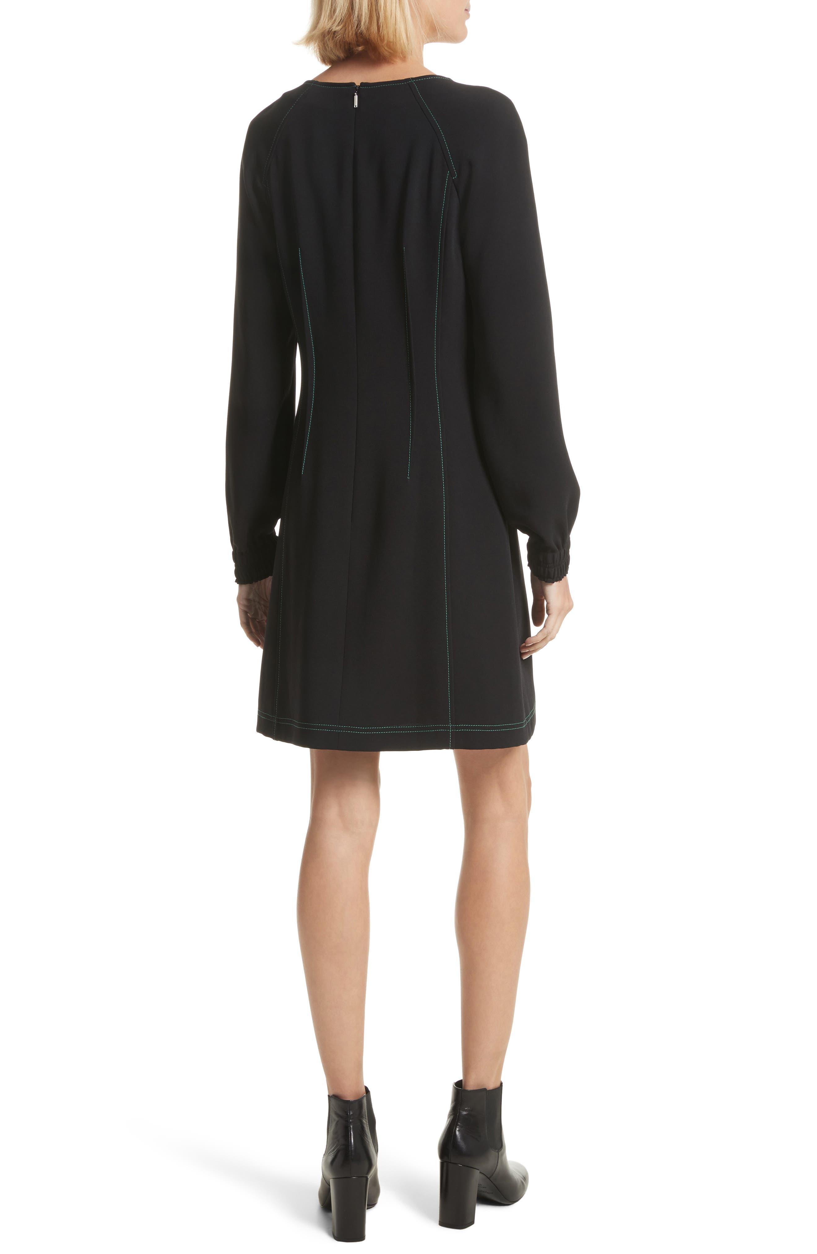 Contrast Stitch Dress,                             Alternate thumbnail 2, color,                             Black