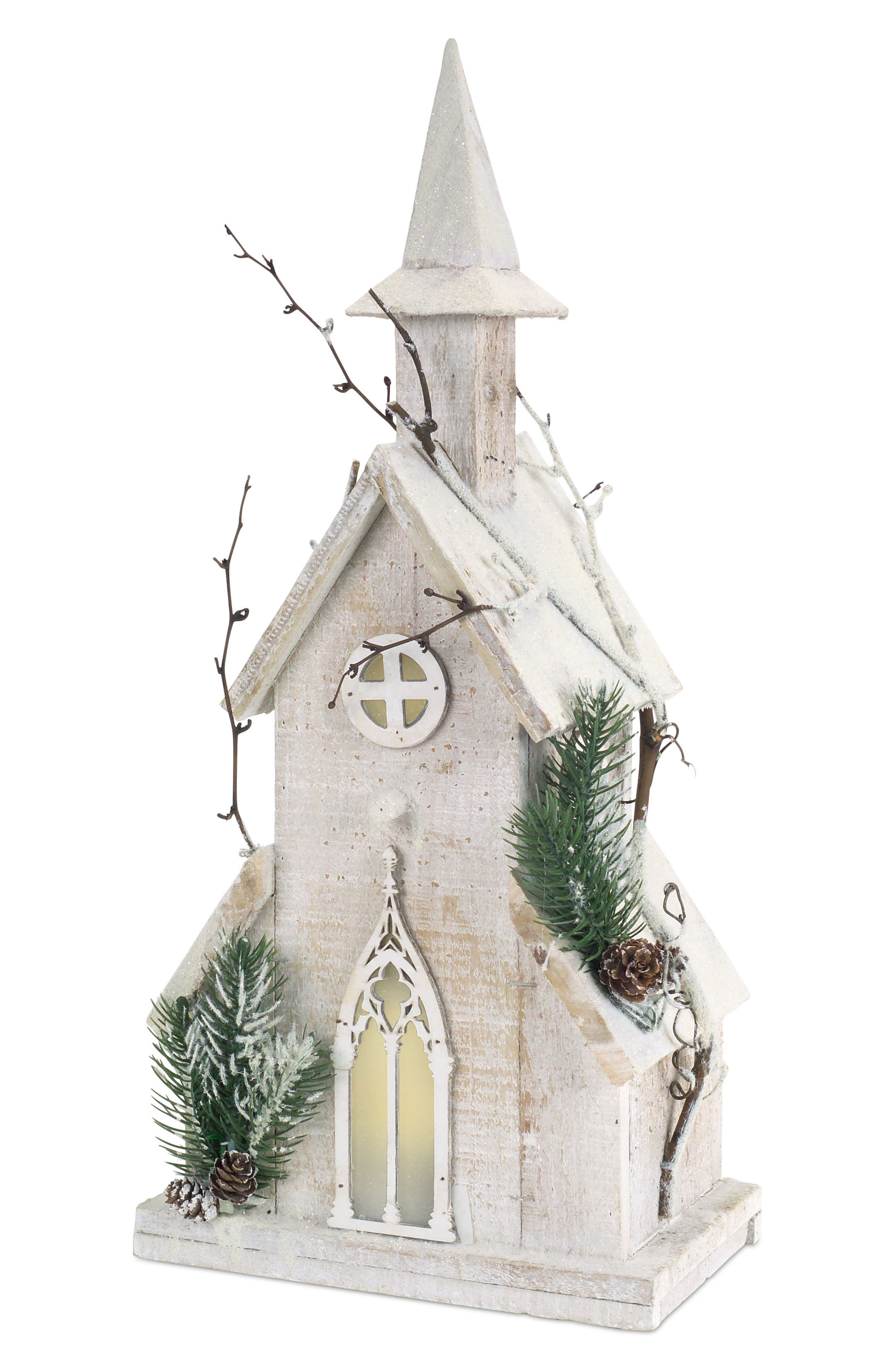 Melrose Gifts Light-Up Distressed Wooden Church