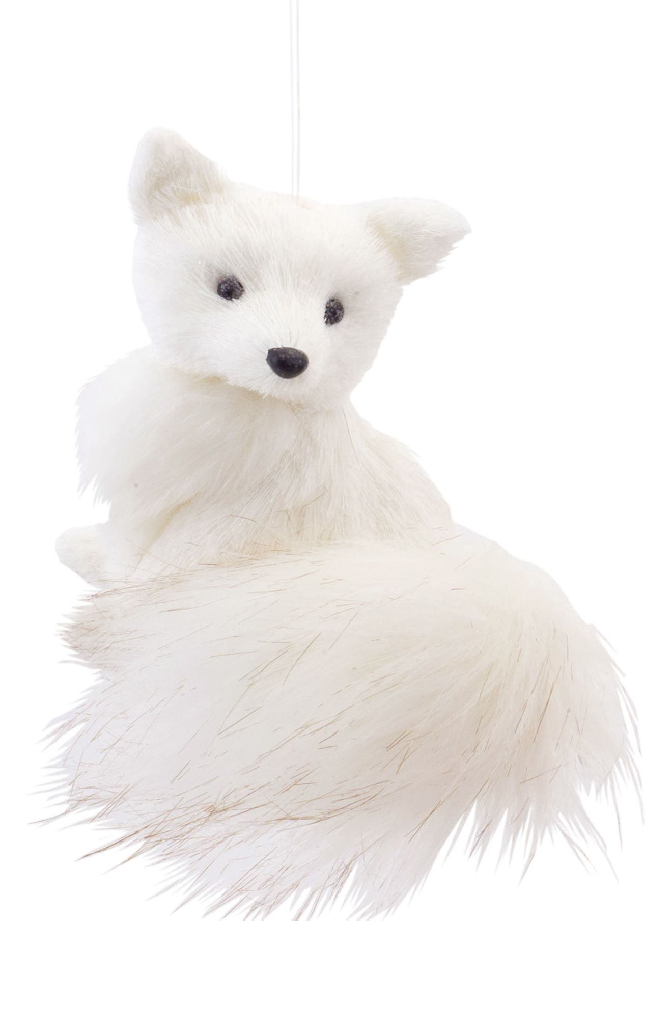 Sitting Fox Ornament,                         Main,                         color, White