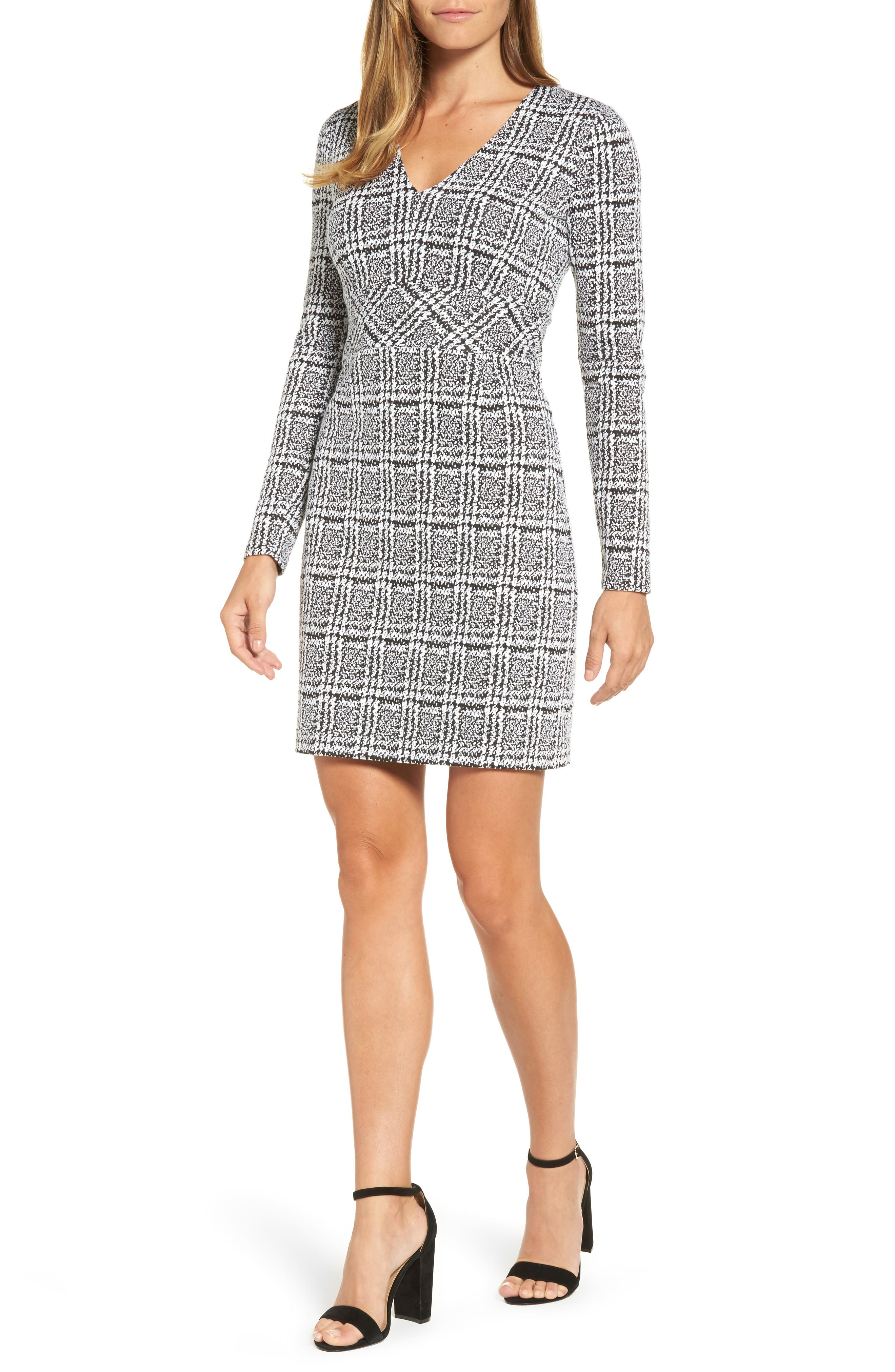 MICHAEL Michael Kors Plaid Jacquard Fit & Flare Dress
