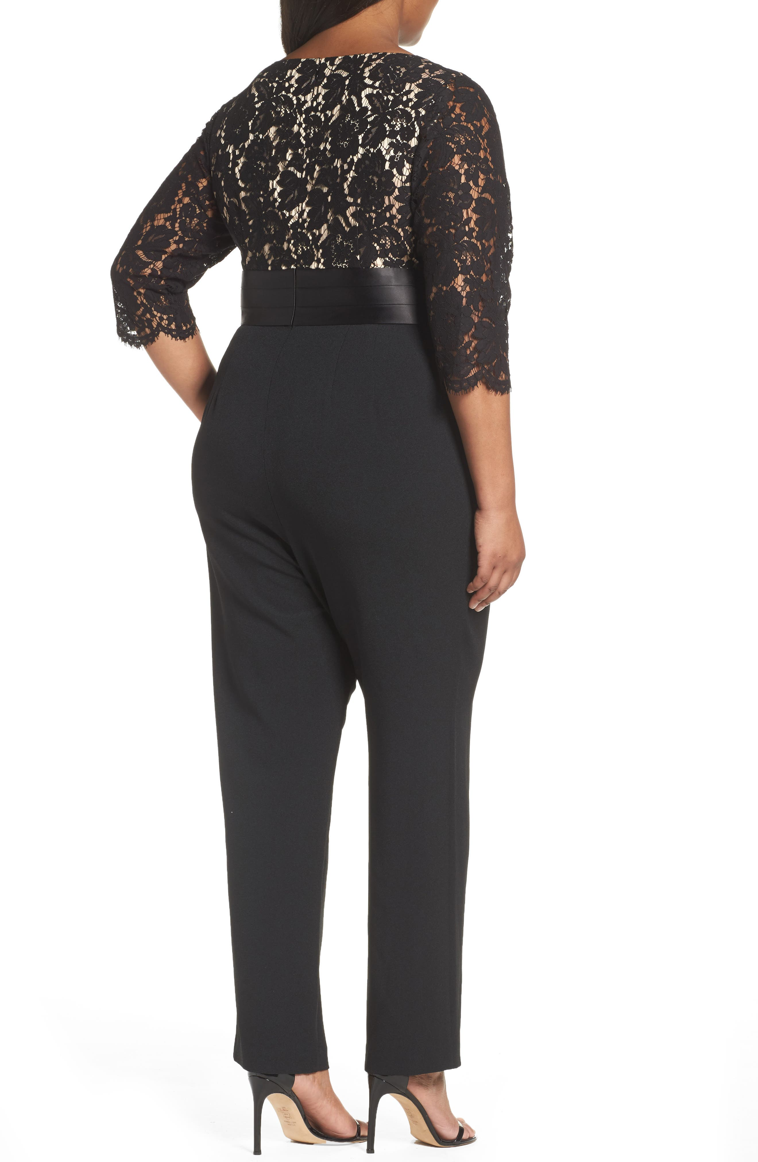 Alternate Image 2  - Eliza J Lace Bodice Jumpsuit (Plus Size)