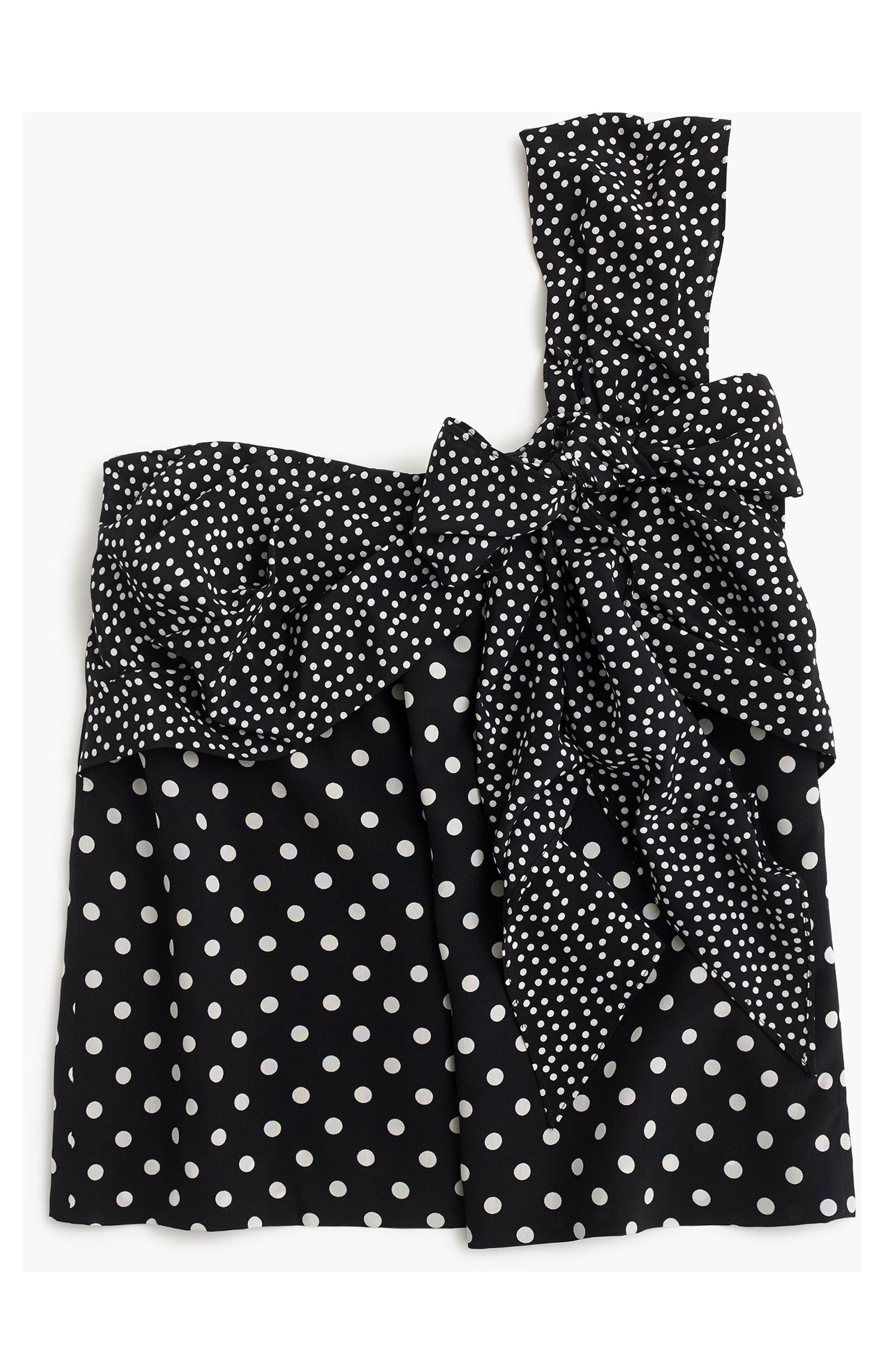 Polka Dot Silk One-Shoulder Bow Top,                             Alternate thumbnail 4, color,                             Black Ivory