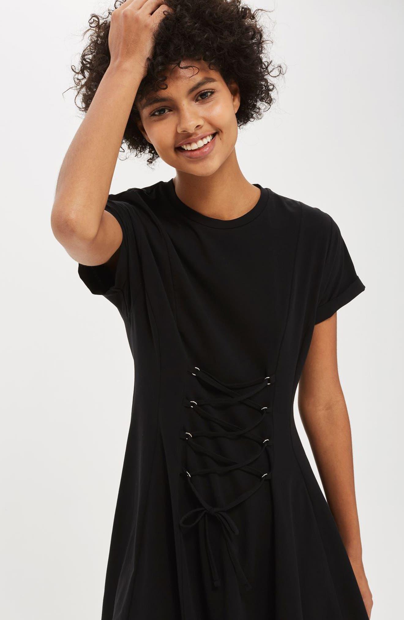 Alternate Image 2  - Topshop Corset Front Flippy Tunic Dress