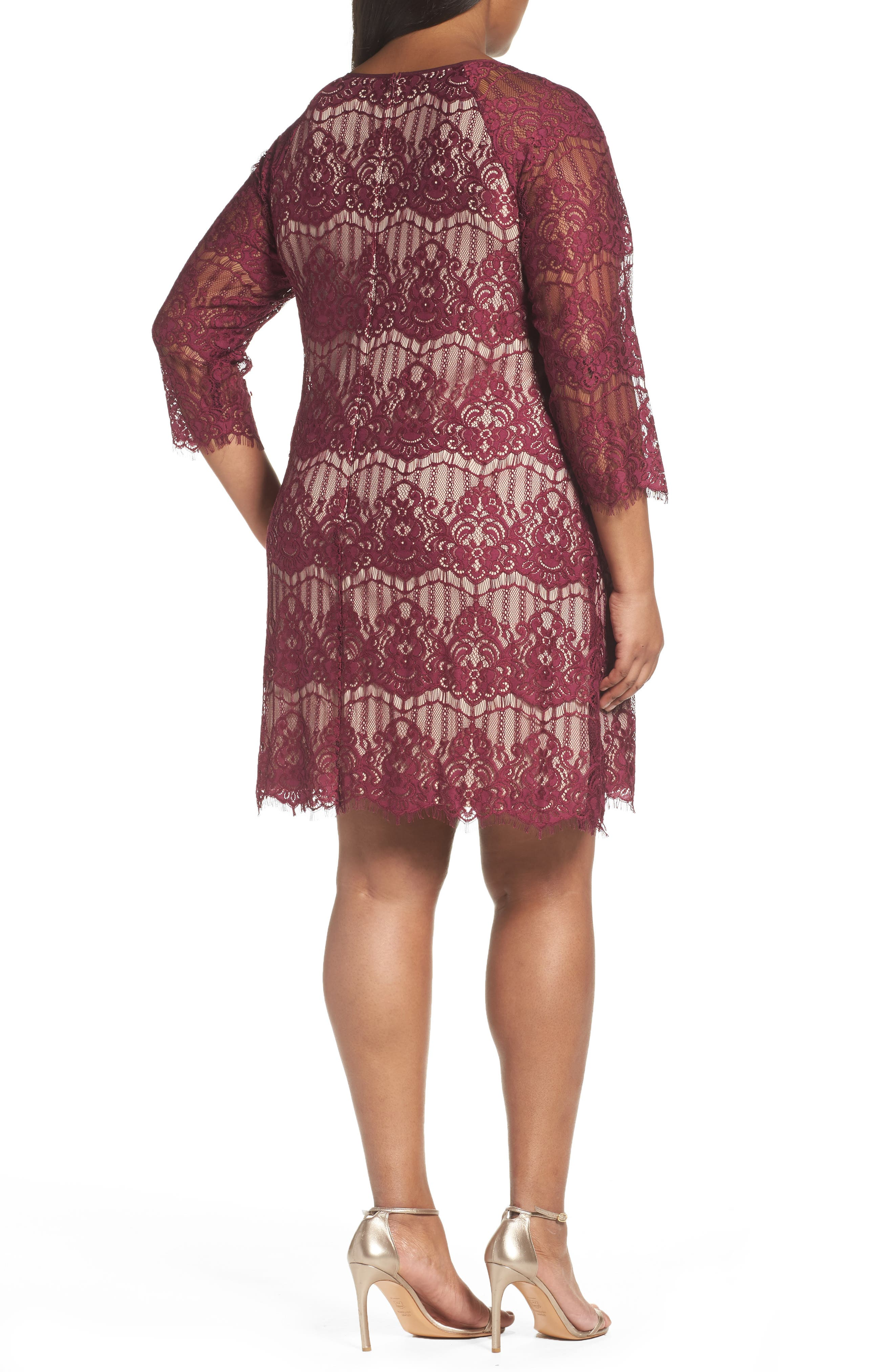 Alternate Image 2  - Adrianna Papell Scalloped Lace Trapeze Dress (Plus Size)