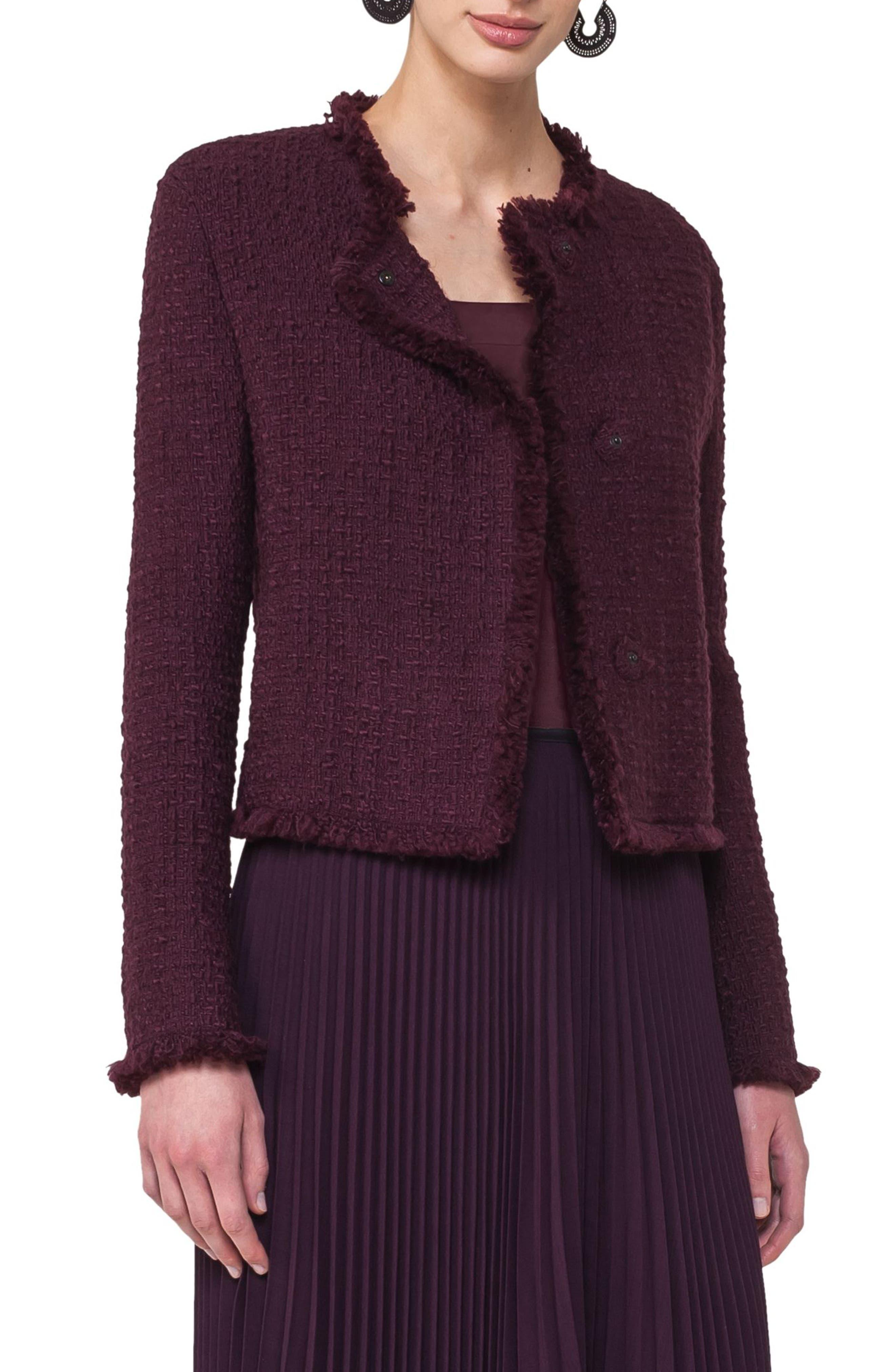 Tweed Jacket,                             Main thumbnail 1, color,                             Wine