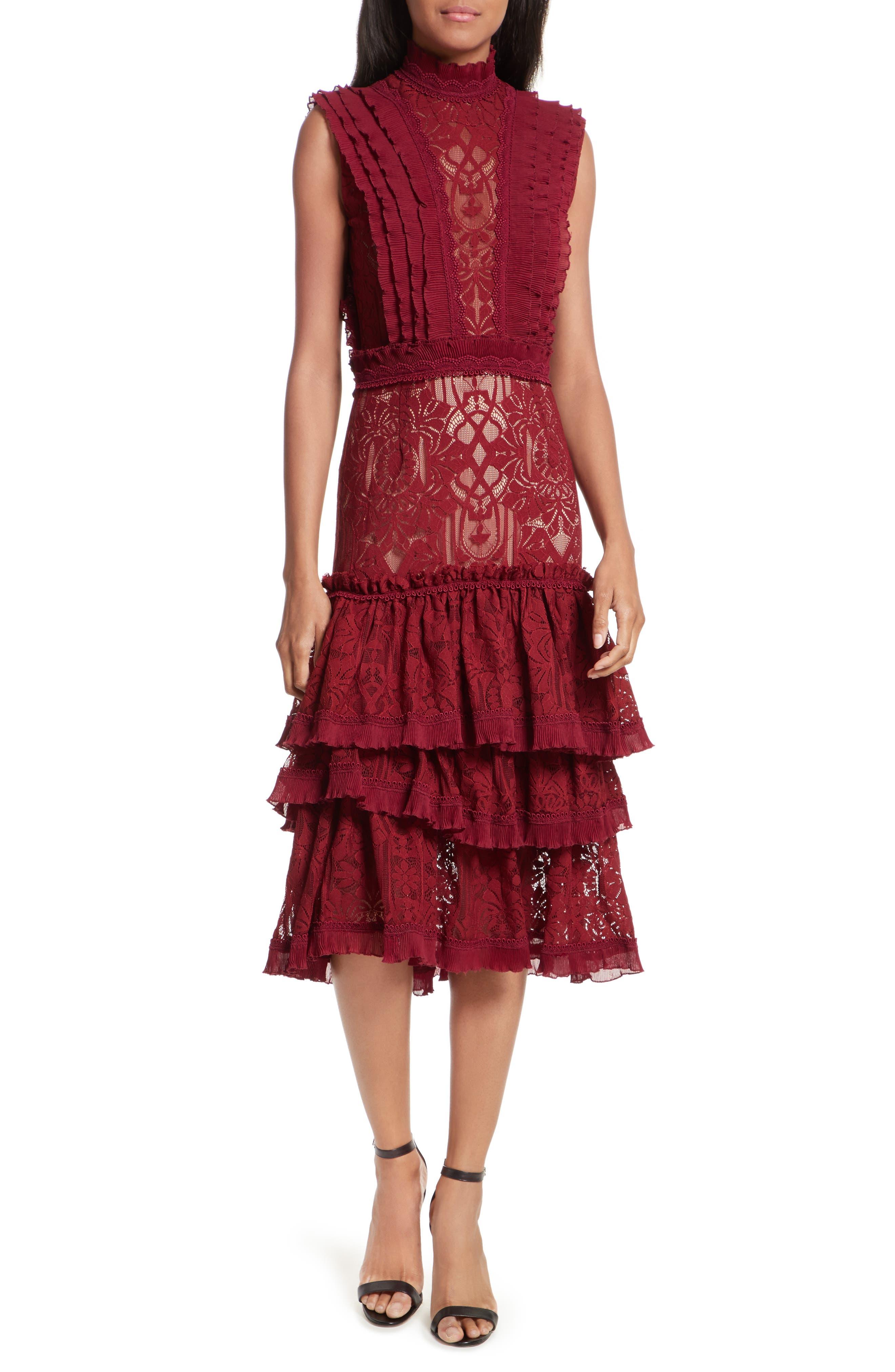 Tower Mesh Lace Ruffled Dress,                             Main thumbnail 1, color,                             Cabernet