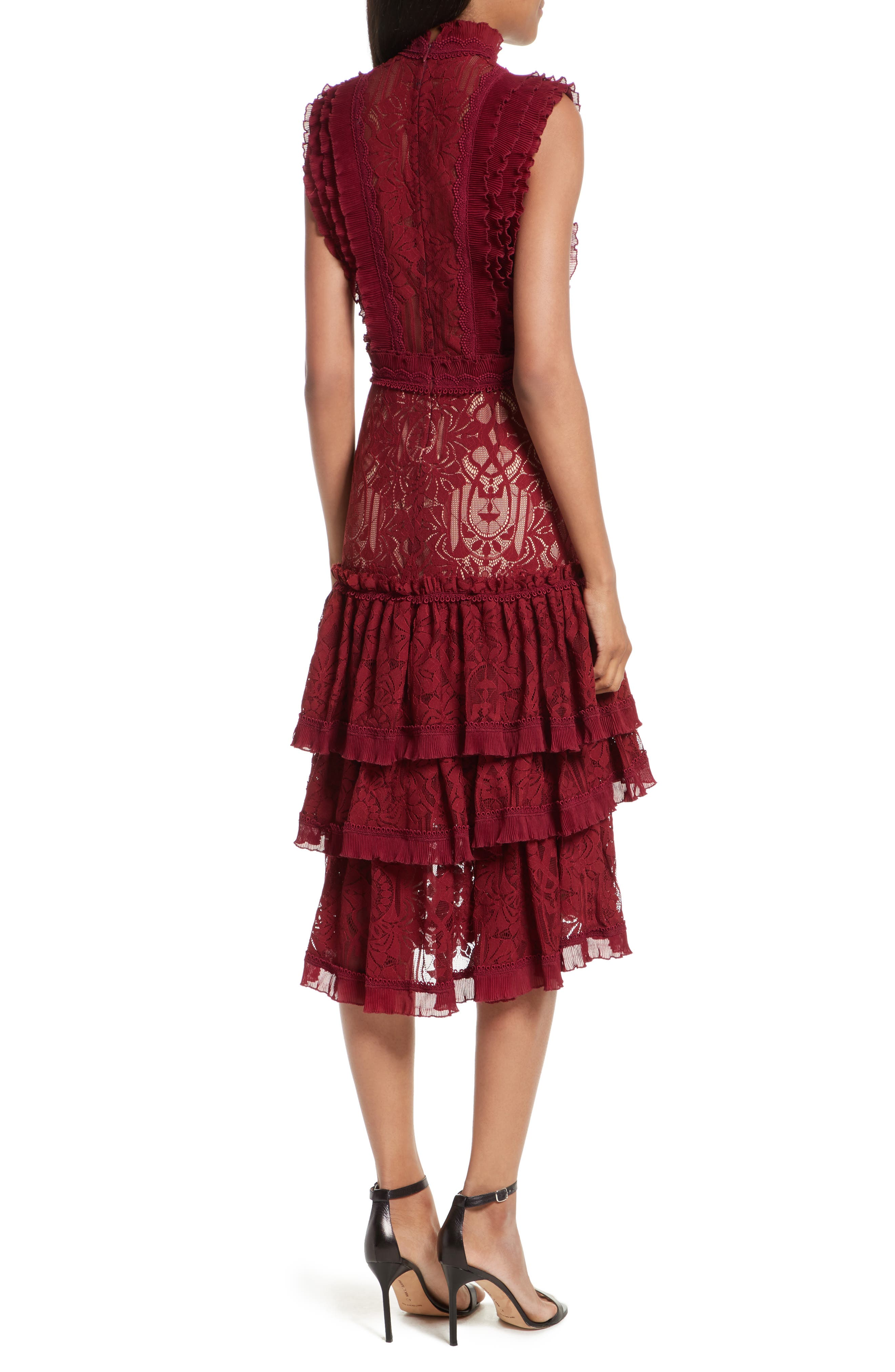 Tower Mesh Lace Ruffled Dress,                             Alternate thumbnail 2, color,                             Cabernet