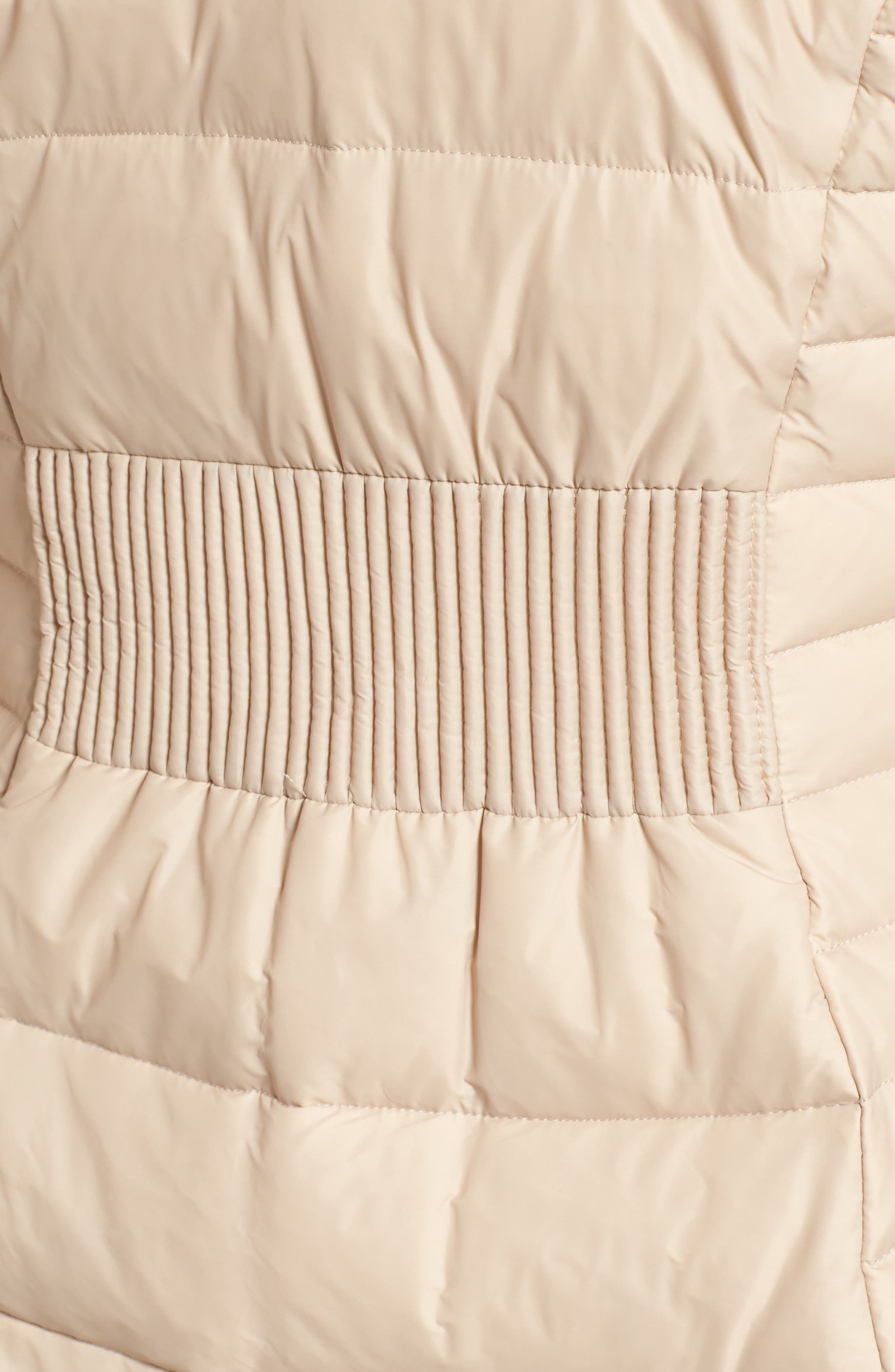 down puffer coat with faux fur trim,                             Alternate thumbnail 5, color,                             Deco Beige