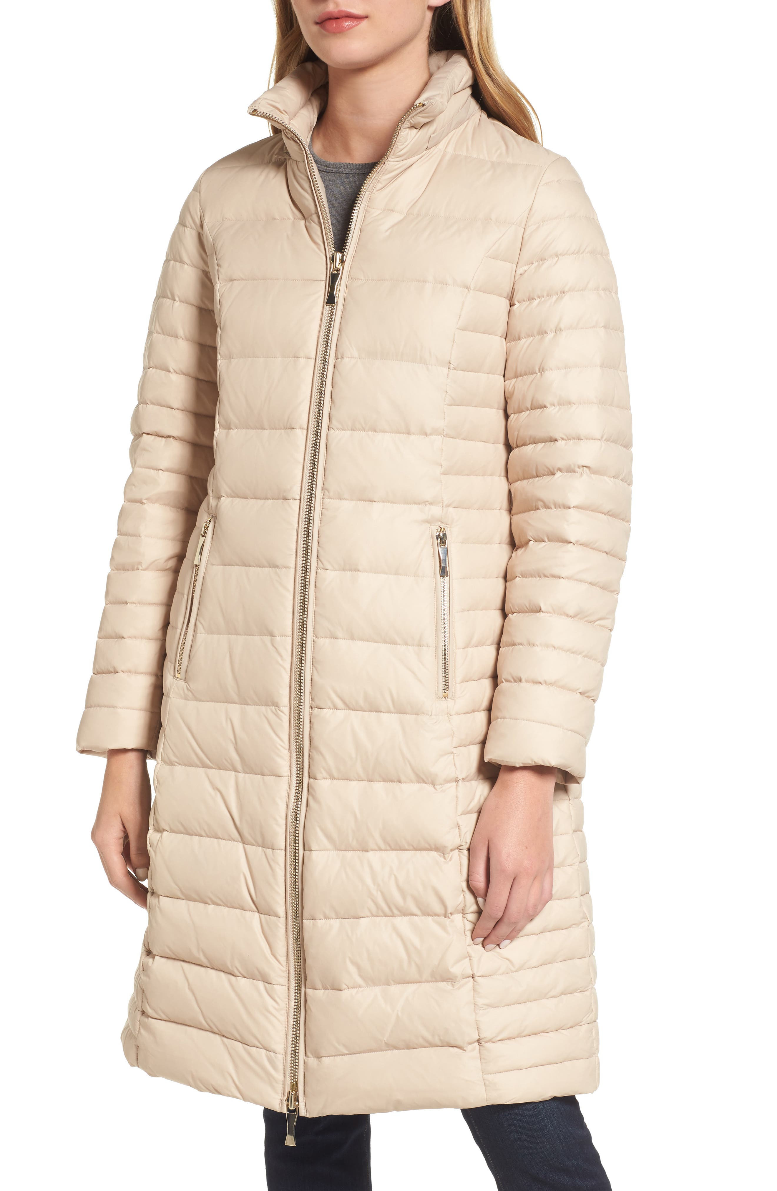 down puffer coat with faux fur trim,                             Alternate thumbnail 4, color,                             Deco Beige