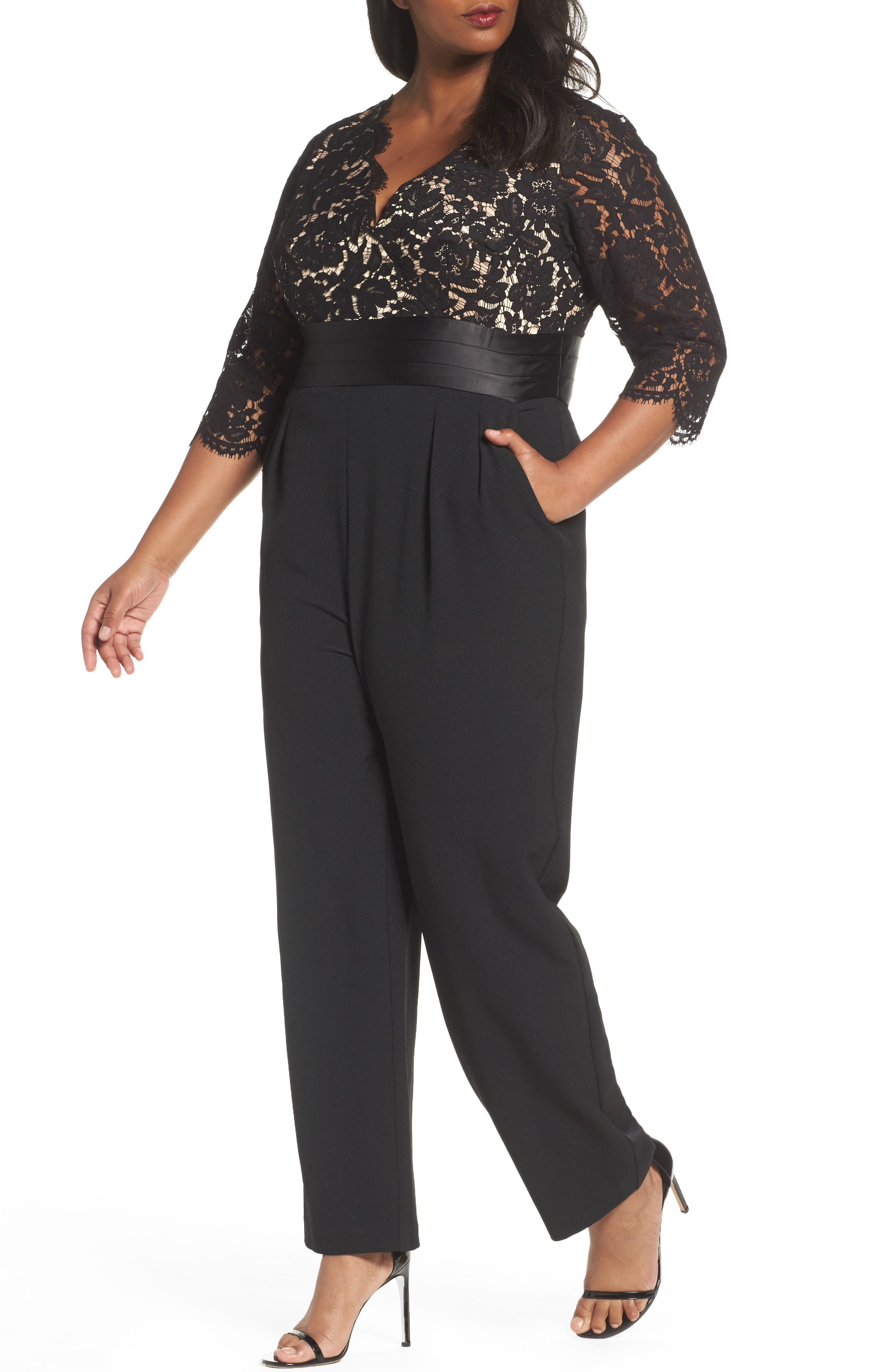 Alternate Image 1 Selected - Eliza J Lace Bodice Jumpsuit (Plus Size)