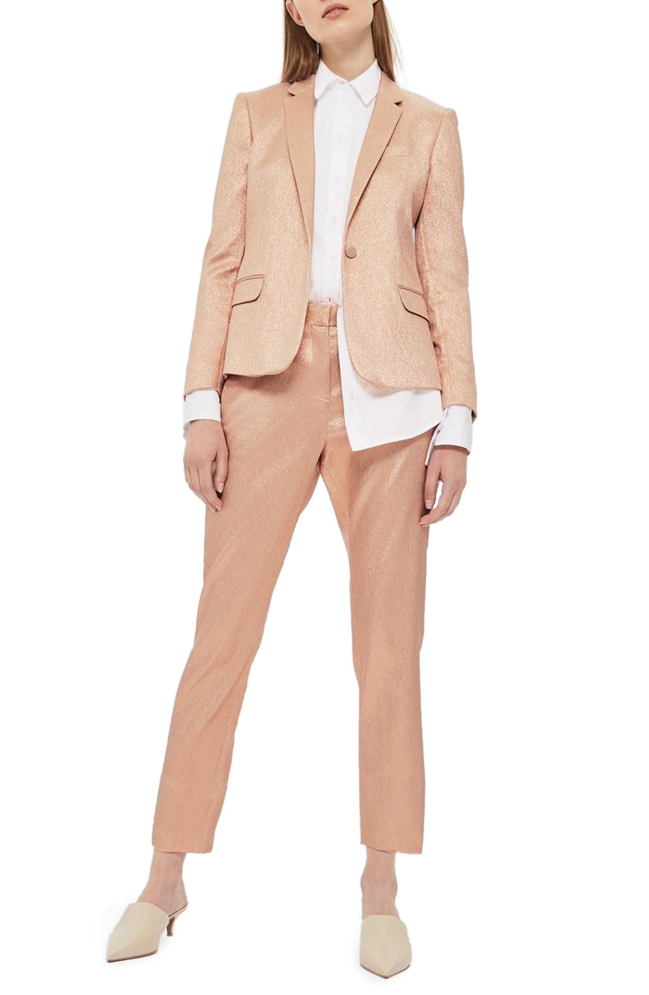 Topshop Metallic Glitter Suit Trousers