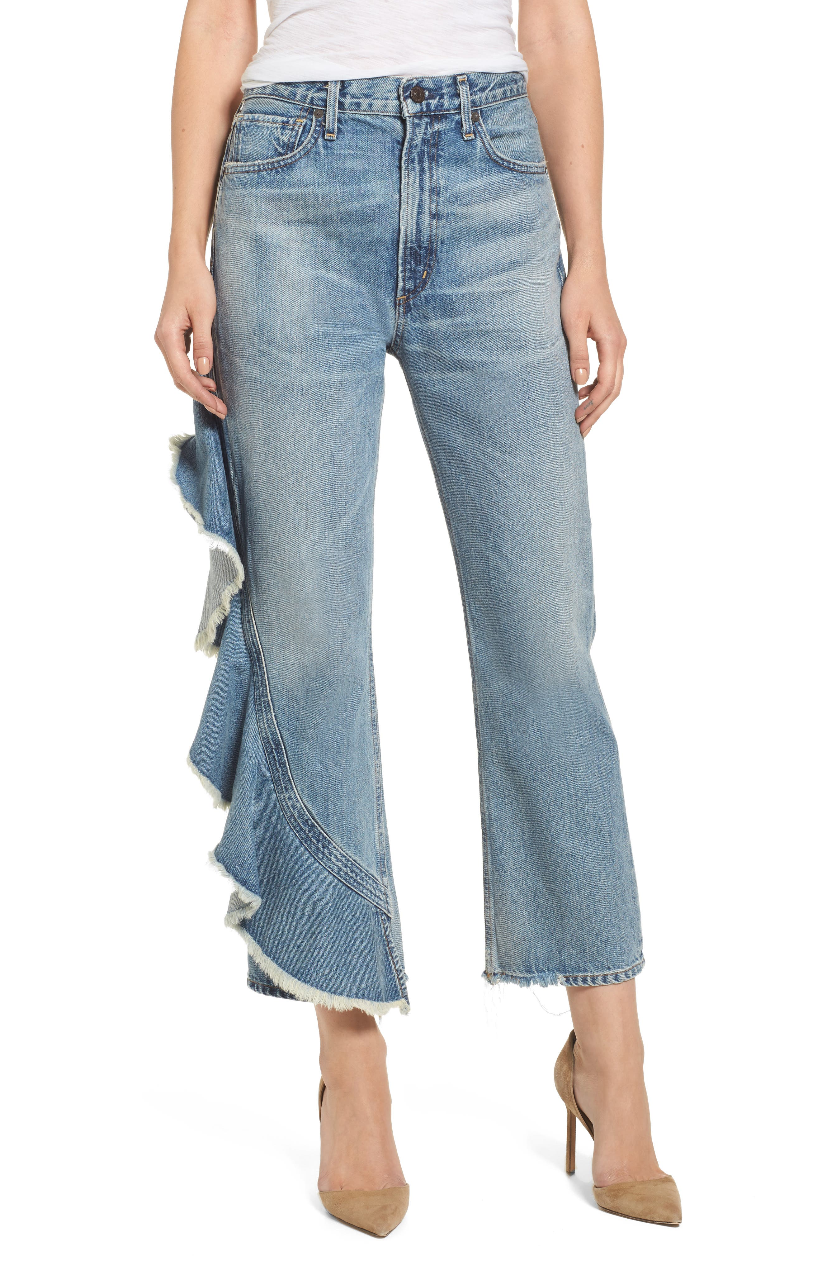 CITIZENS OF HUMANITY Estrella Side Ruffle High Waist Ankle Jeans