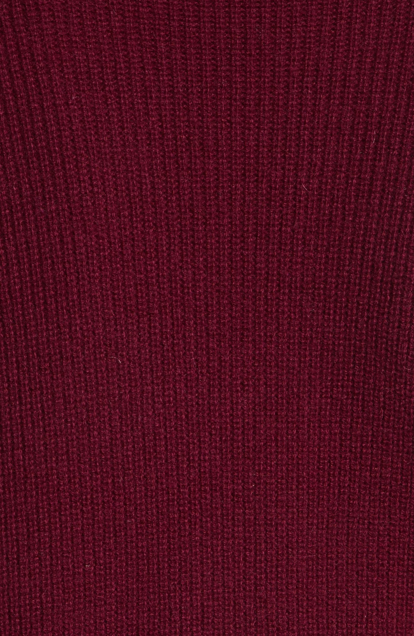 Cold Shoulder Cashmere Pullover,                             Alternate thumbnail 5, color,                             Burgundy