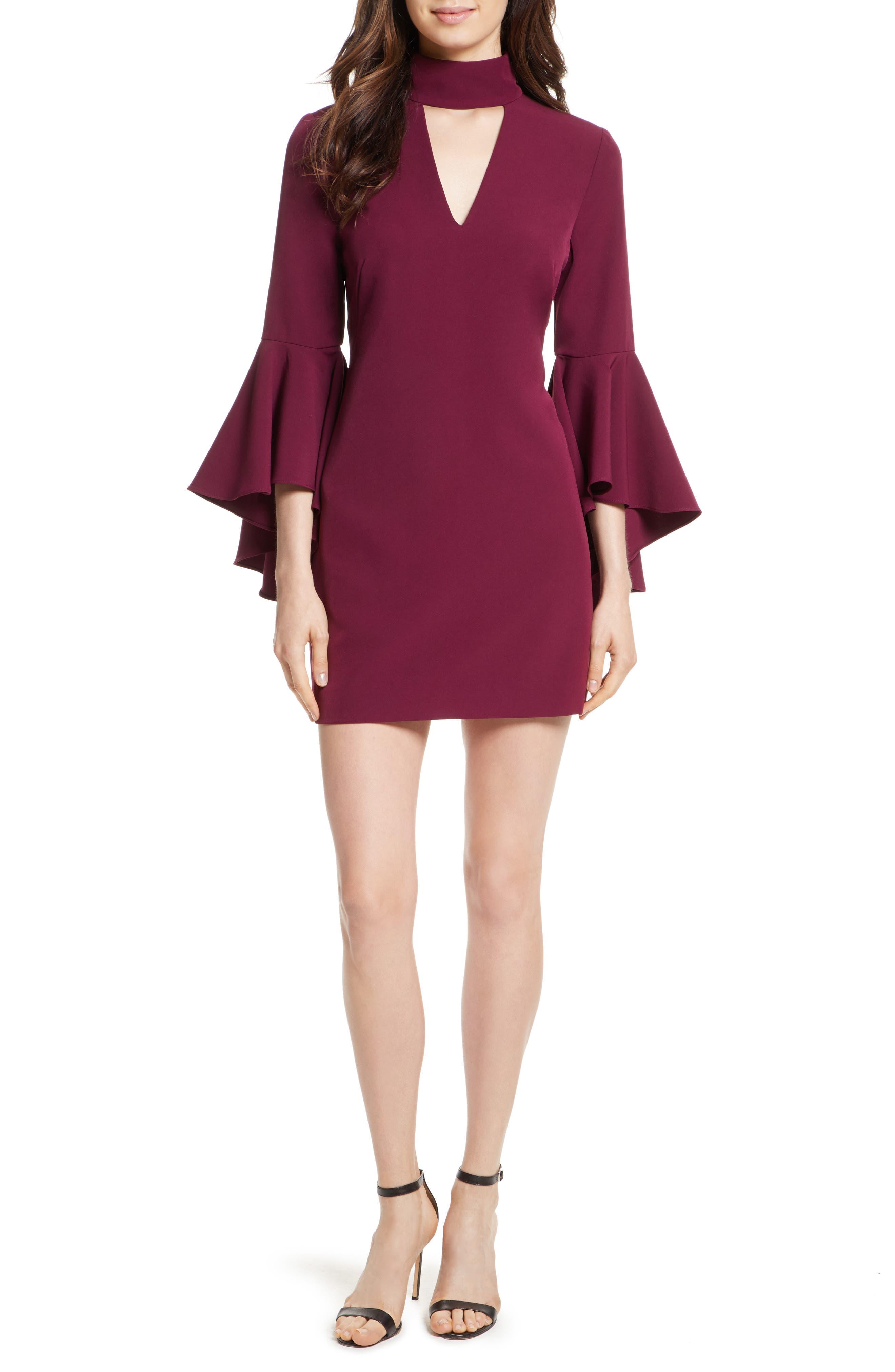 Andrea Italian Cady A-Line Dress,                         Main,                         color, Burgundy