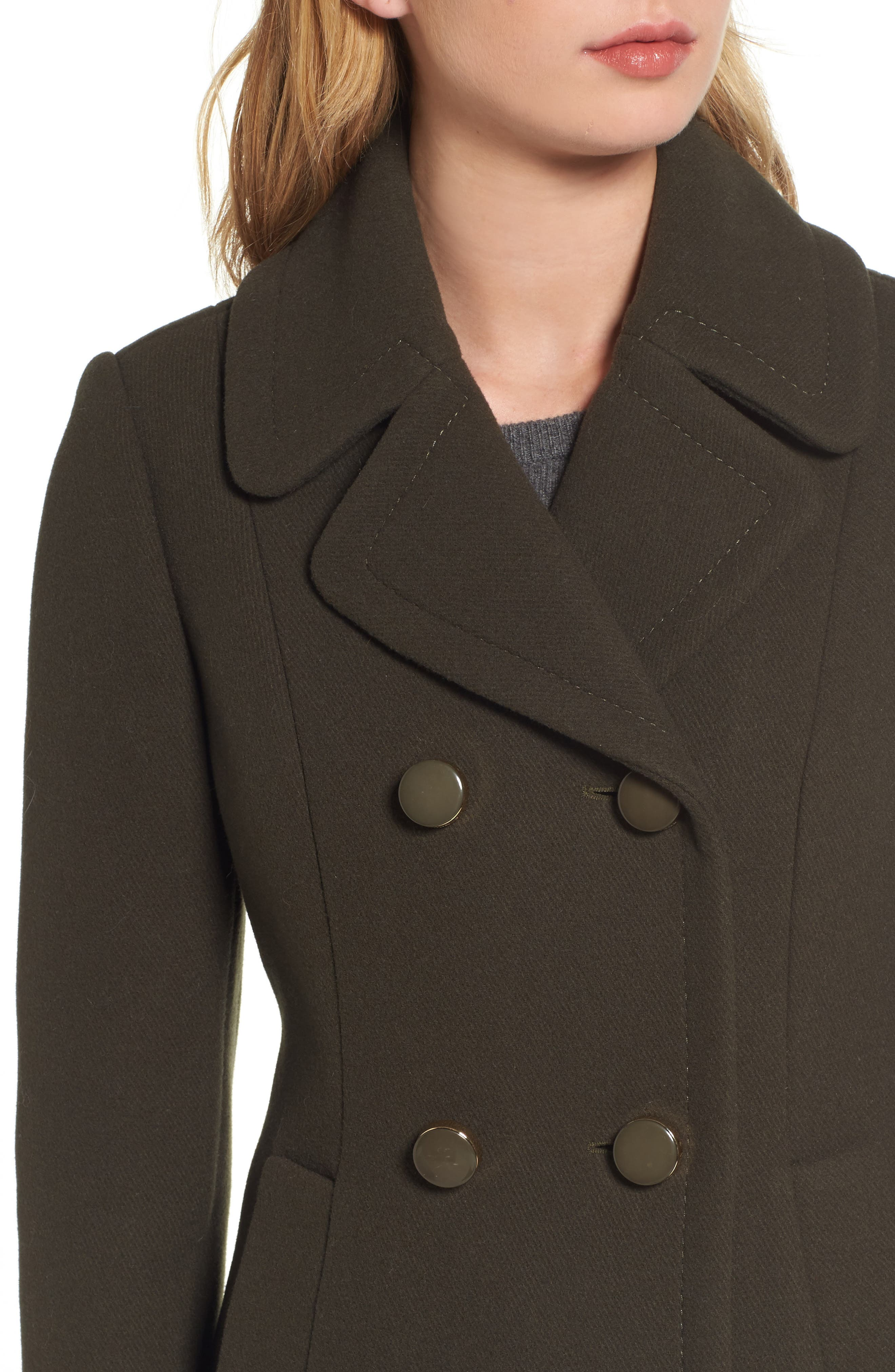 twill fit & flare coat,                             Alternate thumbnail 4, color,                             Olive Grove