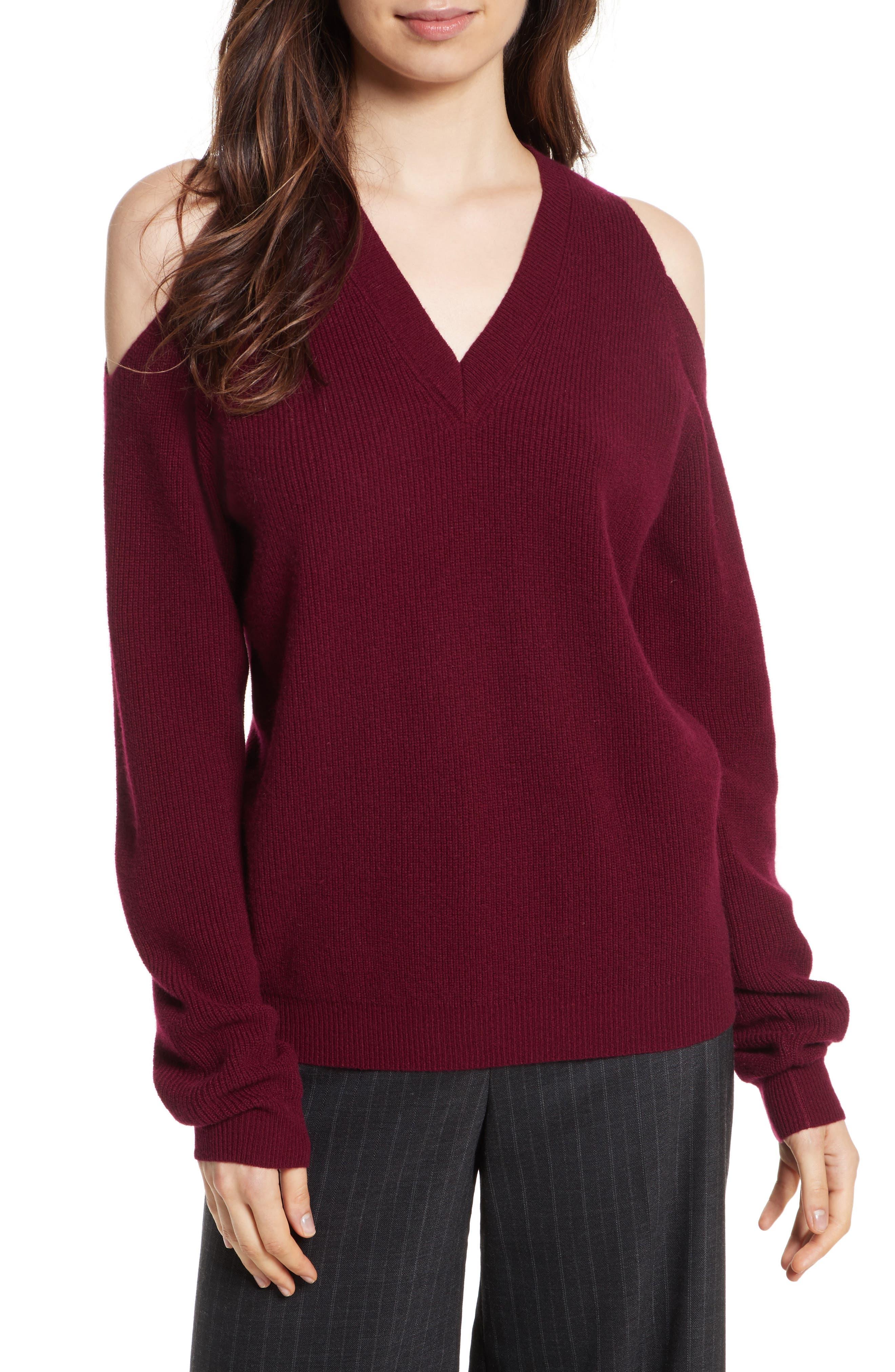 Cold Shoulder Cashmere Pullover,                             Main thumbnail 1, color,                             Burgundy