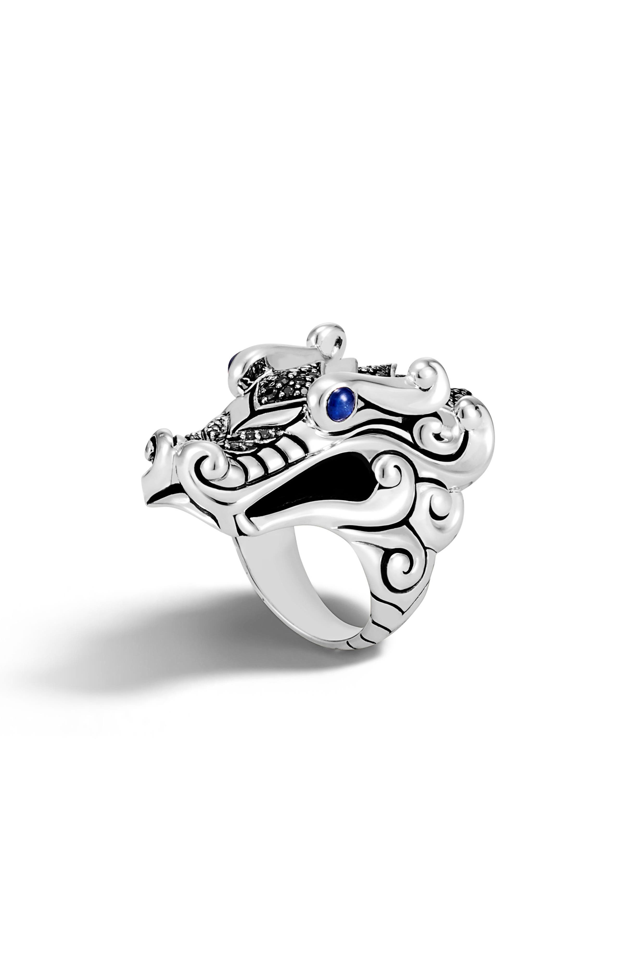 Legends Naga Ring,                         Main,                         color, Silver/ Black/ Blue Sapphire