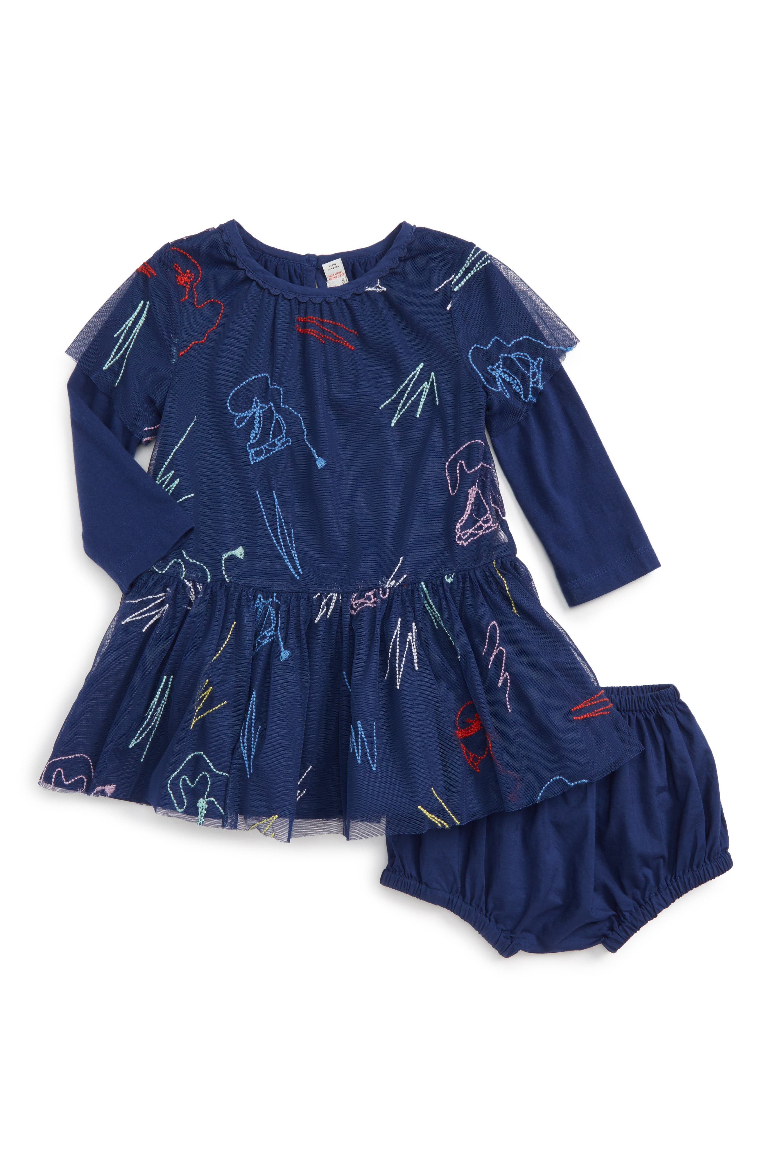 Kids Embroidered Tulle Dress,                         Main,                         color, Blue