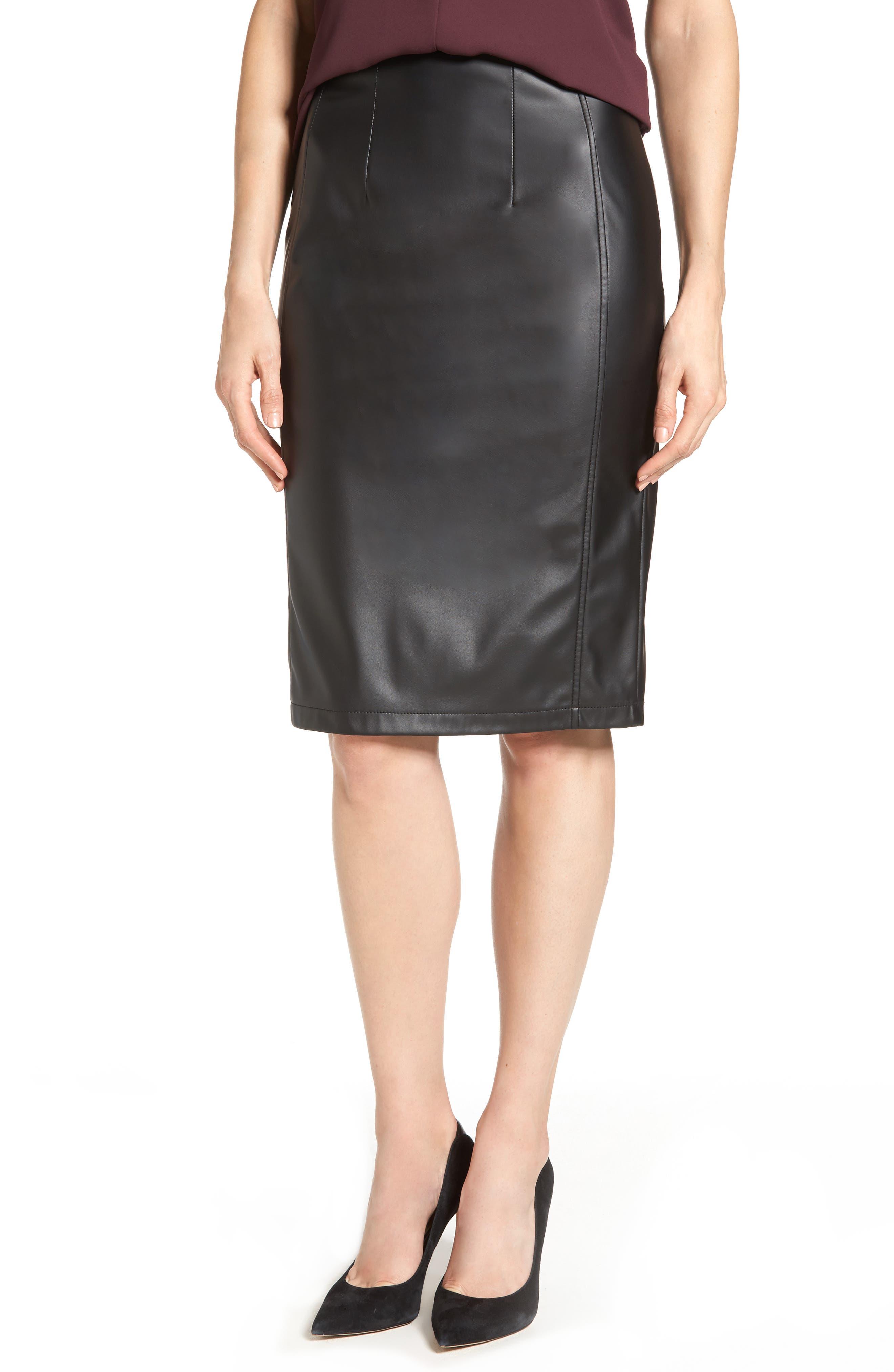 Alternate Image 1 Selected - Halogen® Faux Leather Pencil Skirt (Regular & Petite)