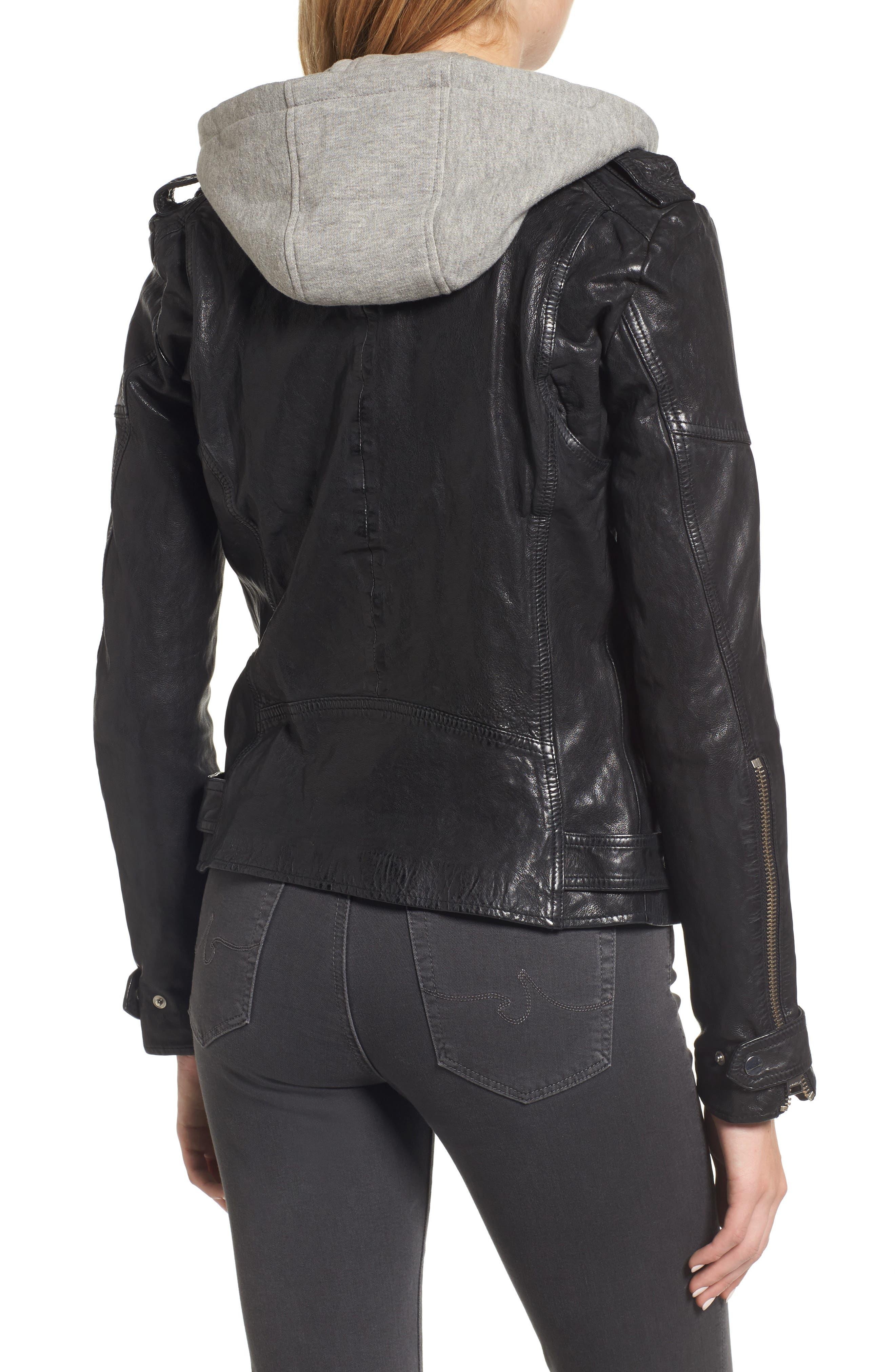 Hooded Leather Biker Jacket,                             Alternate thumbnail 2, color,                             Black
