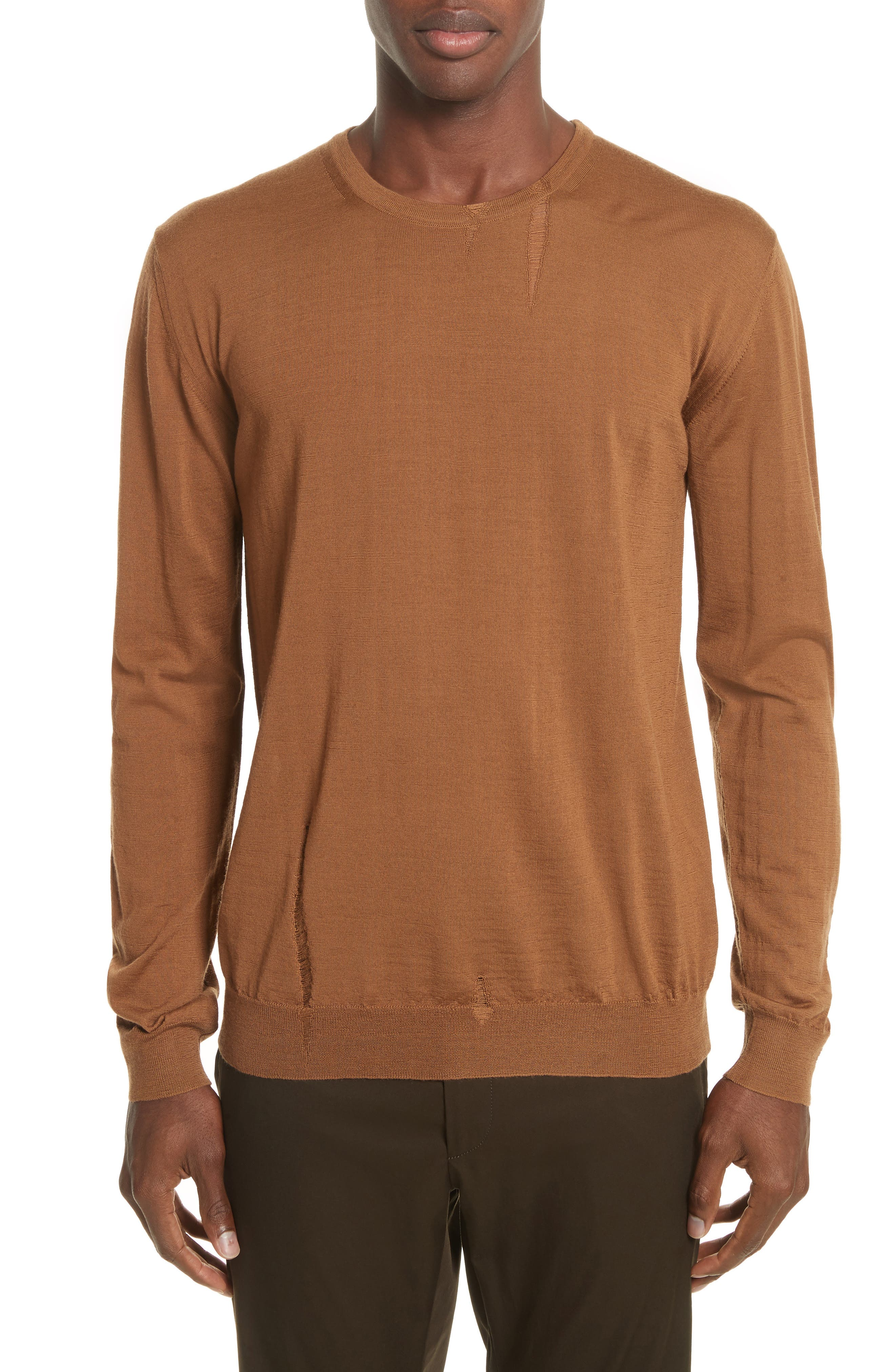 Open Stitch Wool Sweater,                         Main,                         color, Camel