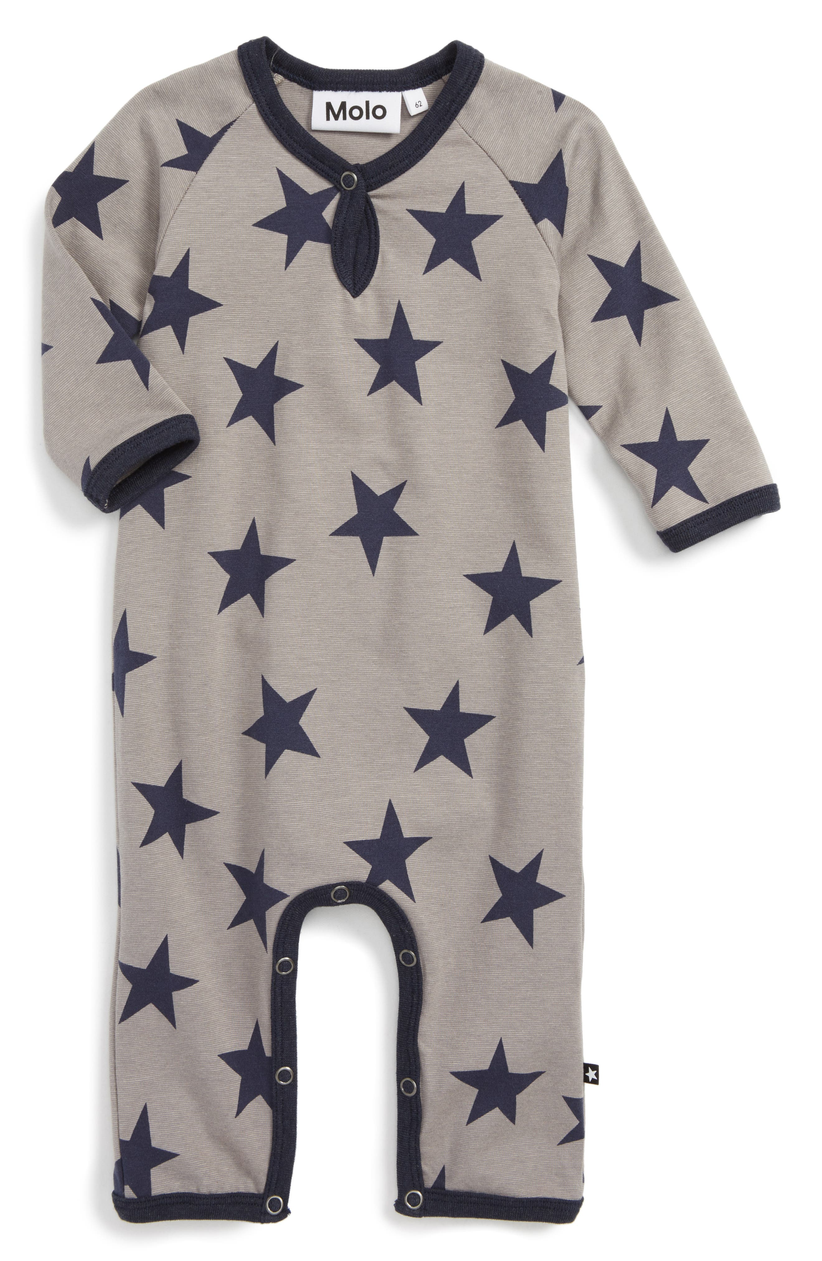 Fleming Print Romper,                         Main,                         color, Navy Blazer Star