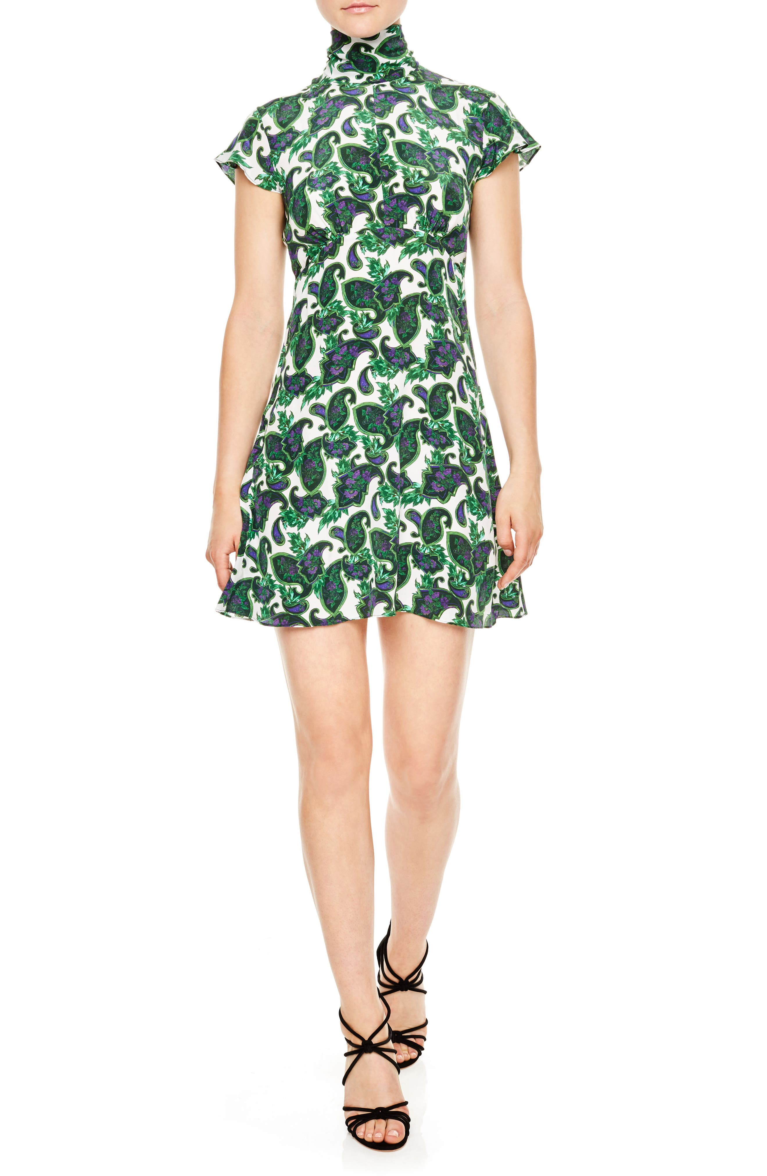 sandro Tie Back Print Silk Dress