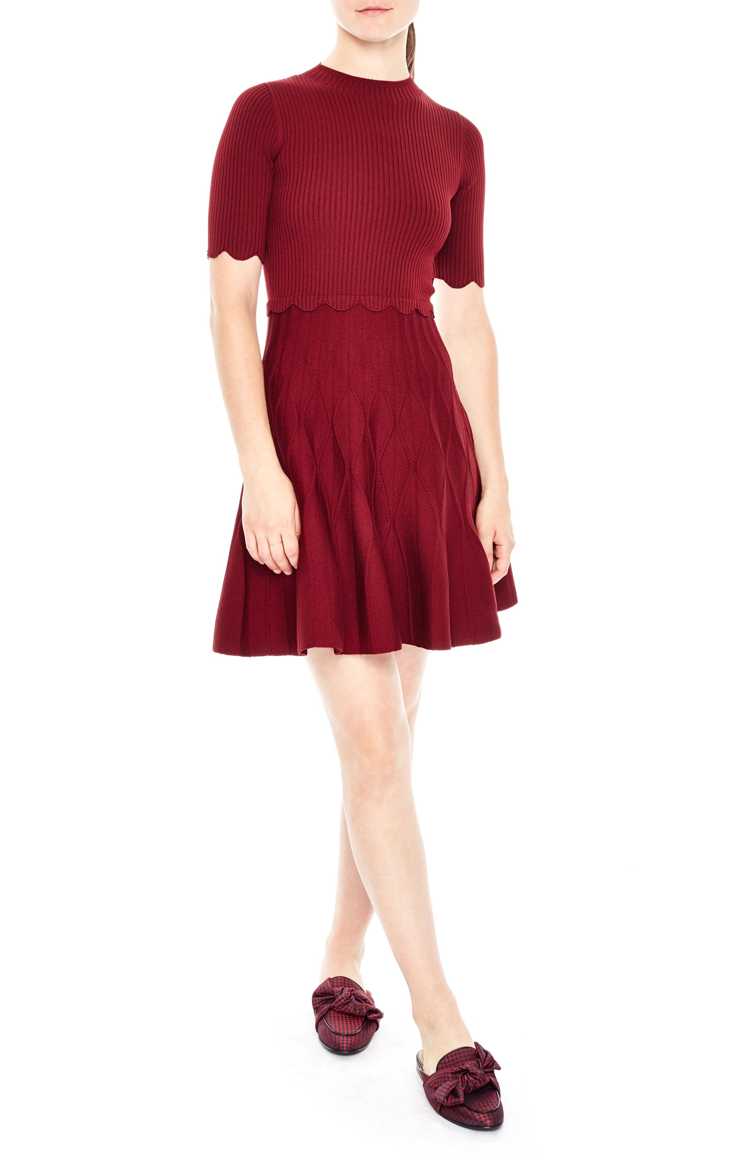 sandro Fit & Flare Knit Dress