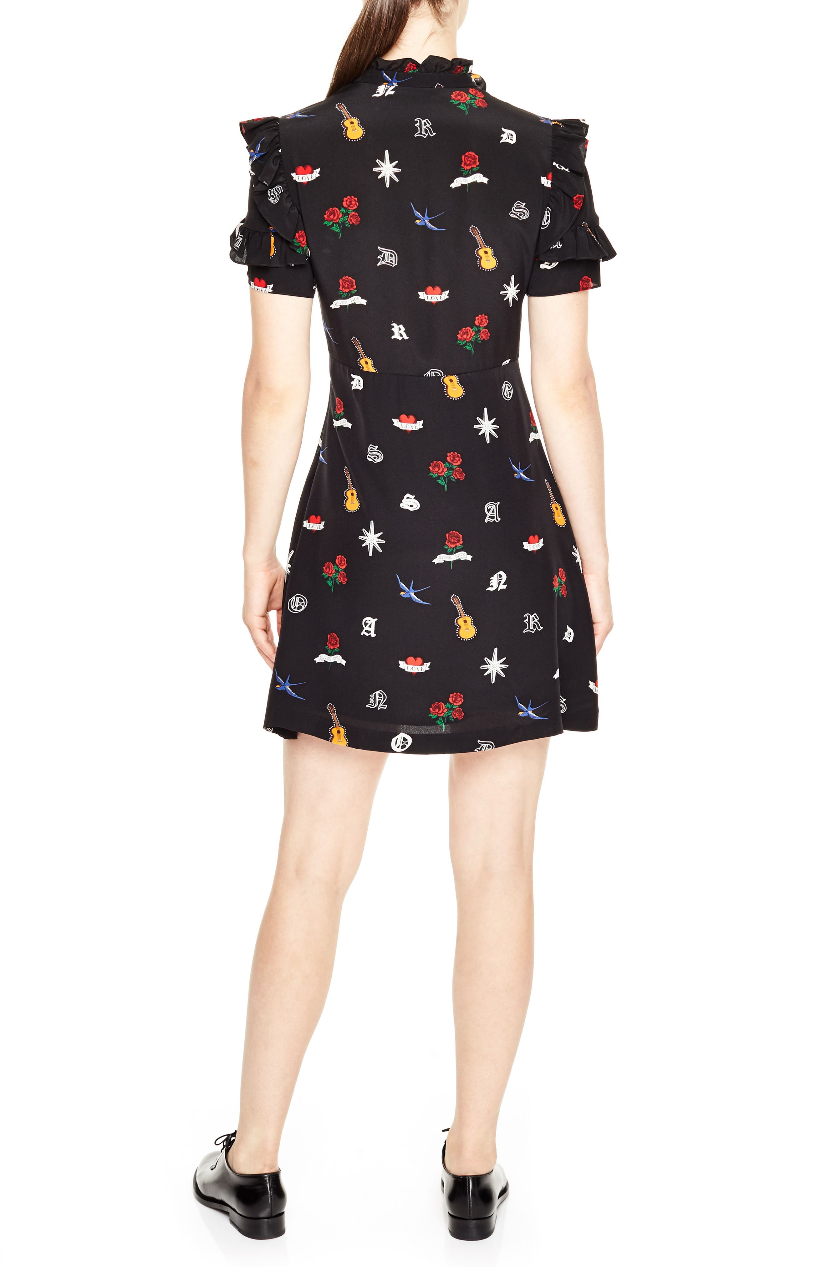 Ruffle Trim Tattoo Print Silk Dress,                             Alternate thumbnail 2, color,                             Black