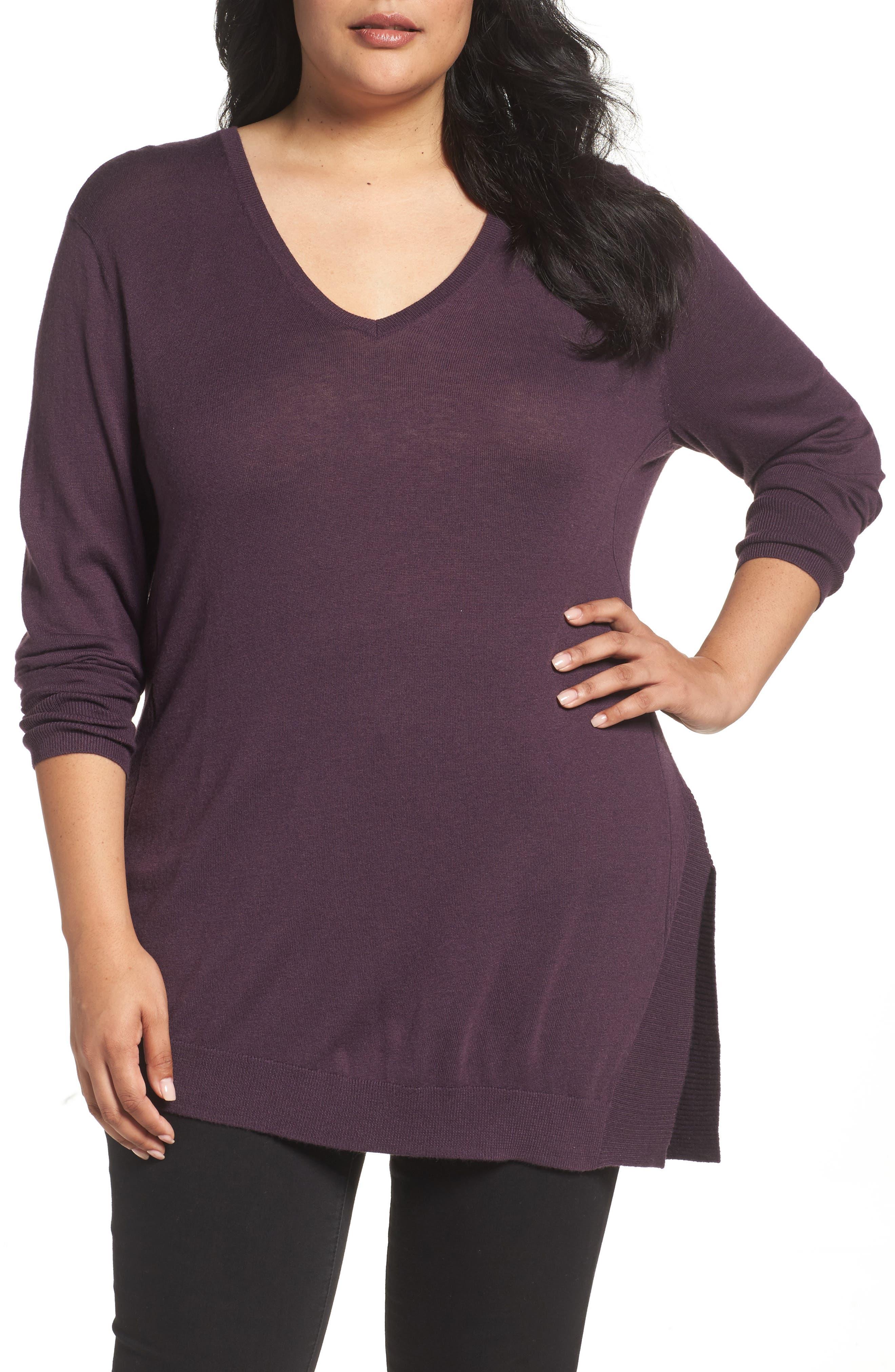 V-Neck Asymmetrical Tunic,                             Main thumbnail 1, color,                             Purple Plum