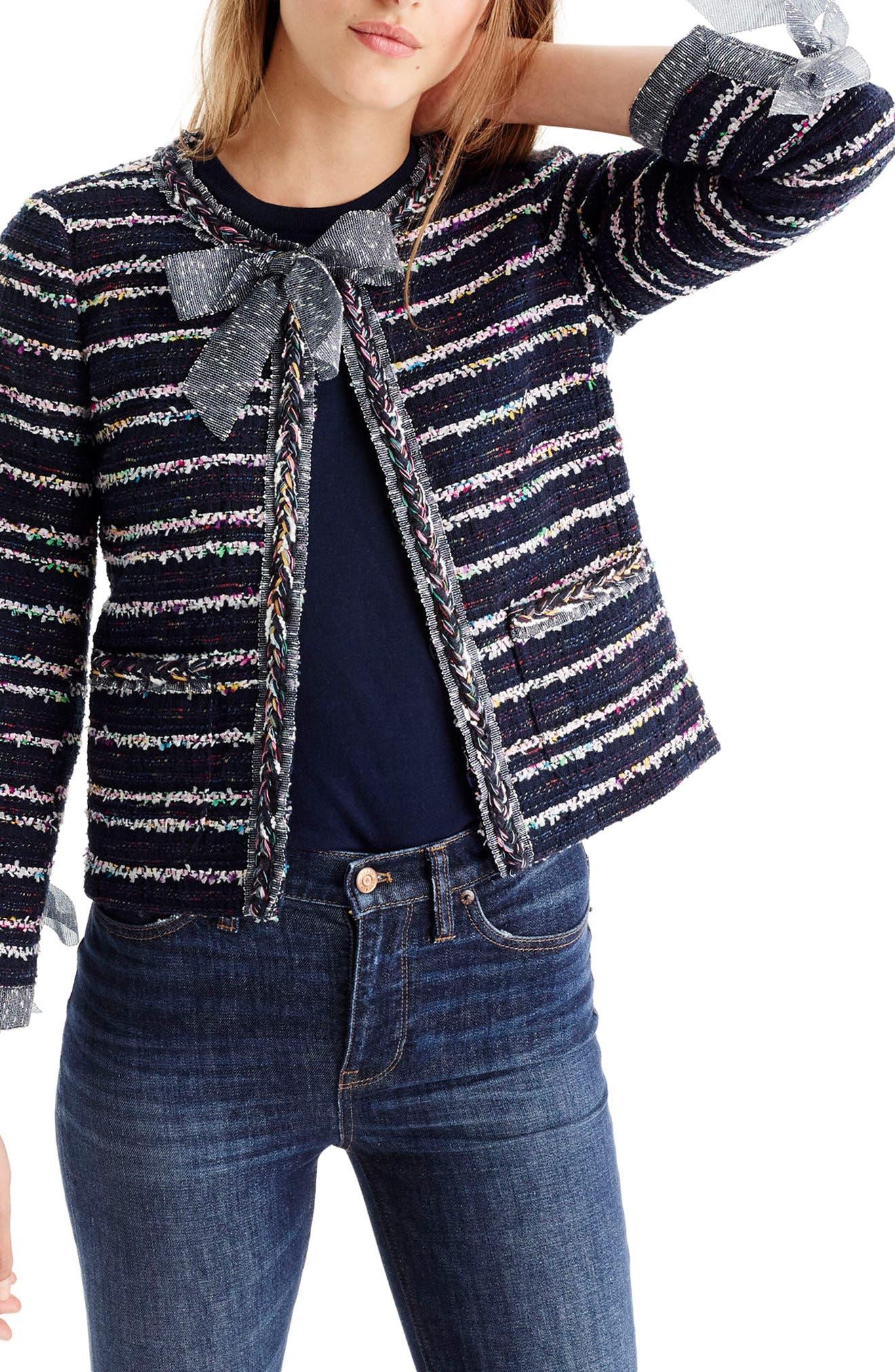 J.Crew Tie Detail Tweed Lady Jacket (Regular & Petite)