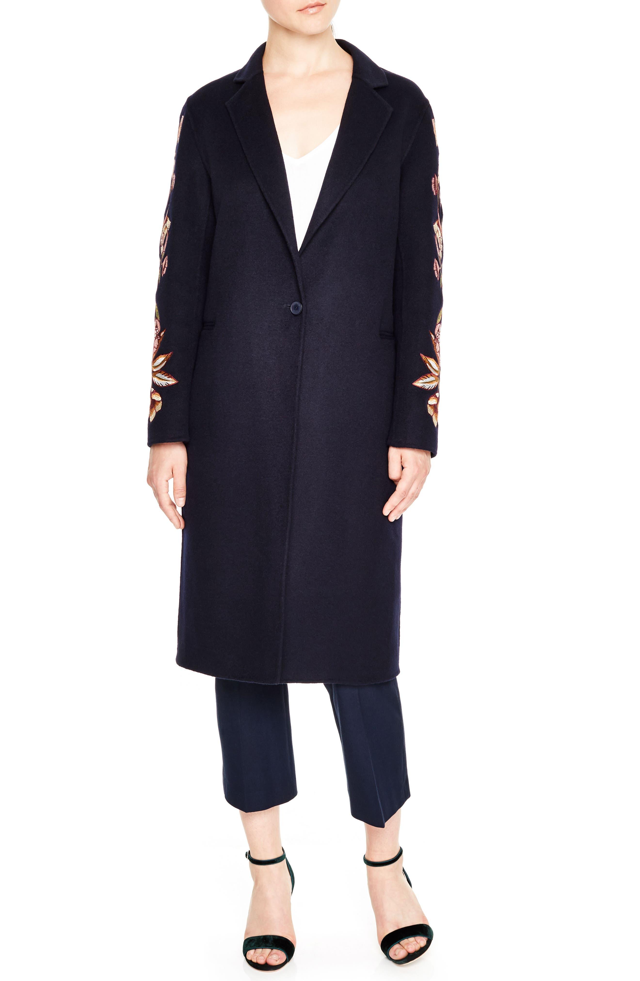 Embroidered Long Wool Blend Coat,                         Main,                         color, Navy