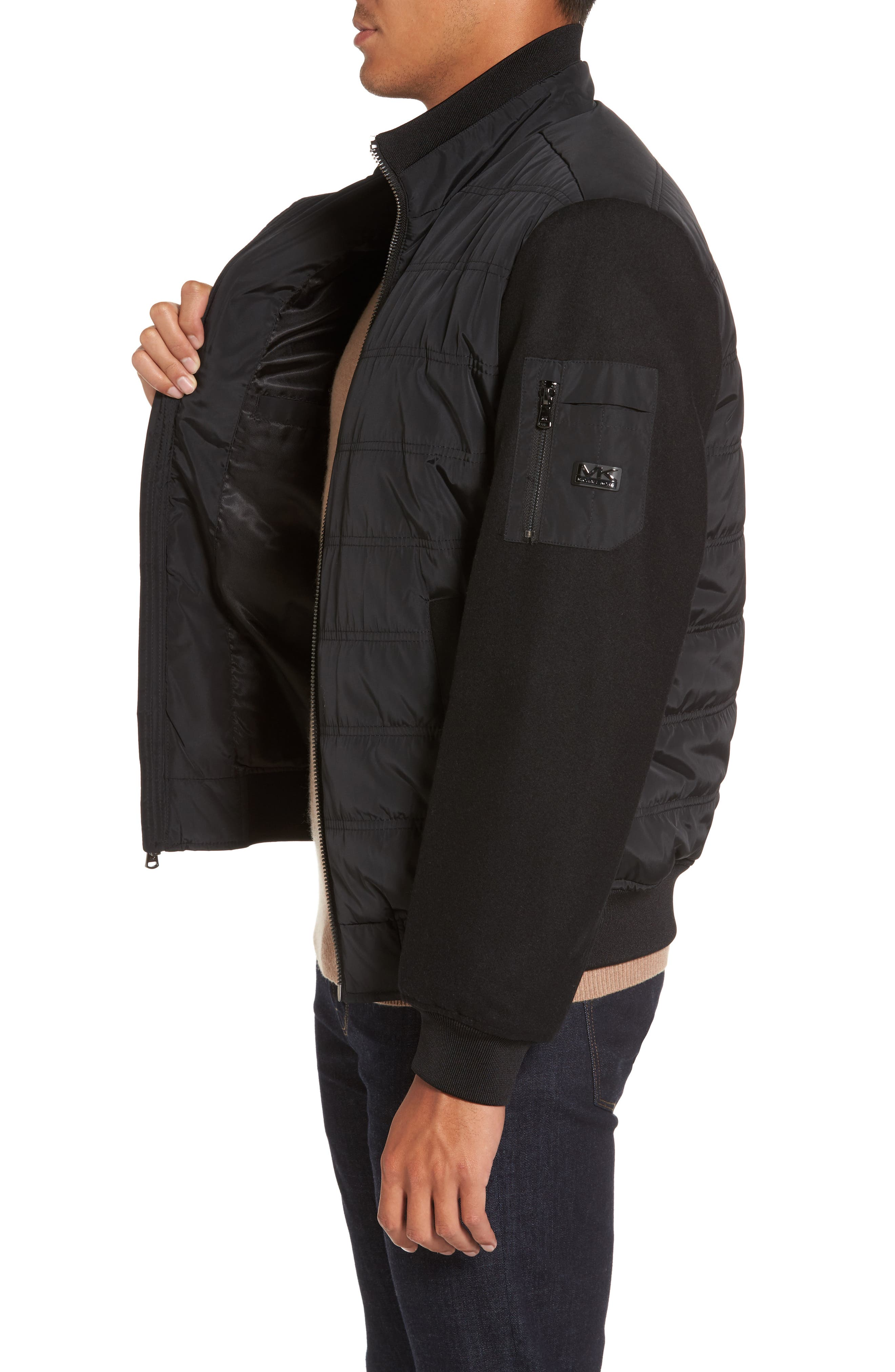 Mixed Media Quilted Jacket,                             Alternate thumbnail 3, color,                             Black