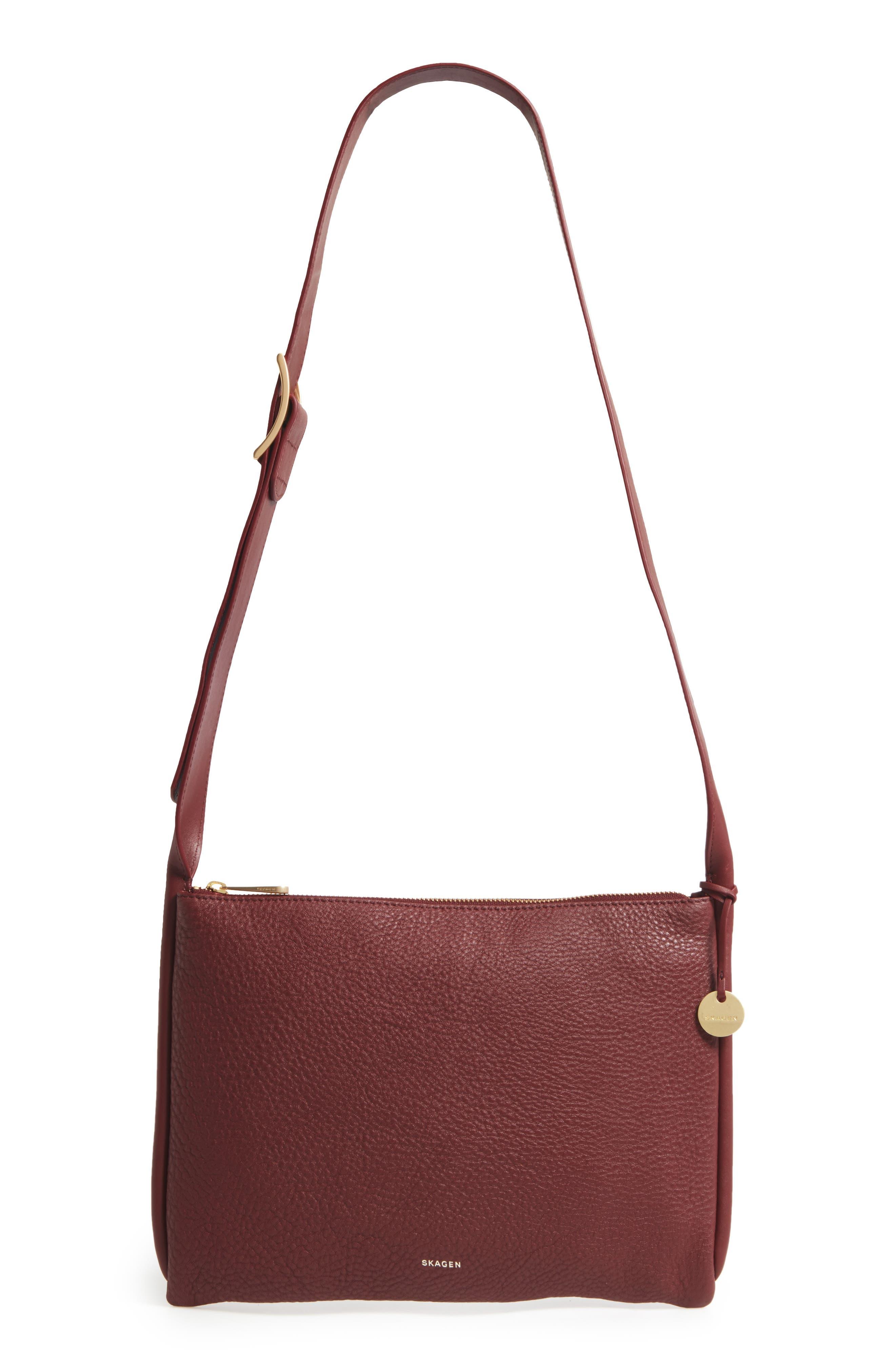 Slim Anesa Leather Crossbody Bag,                             Main thumbnail 1, color,                             Cordovan