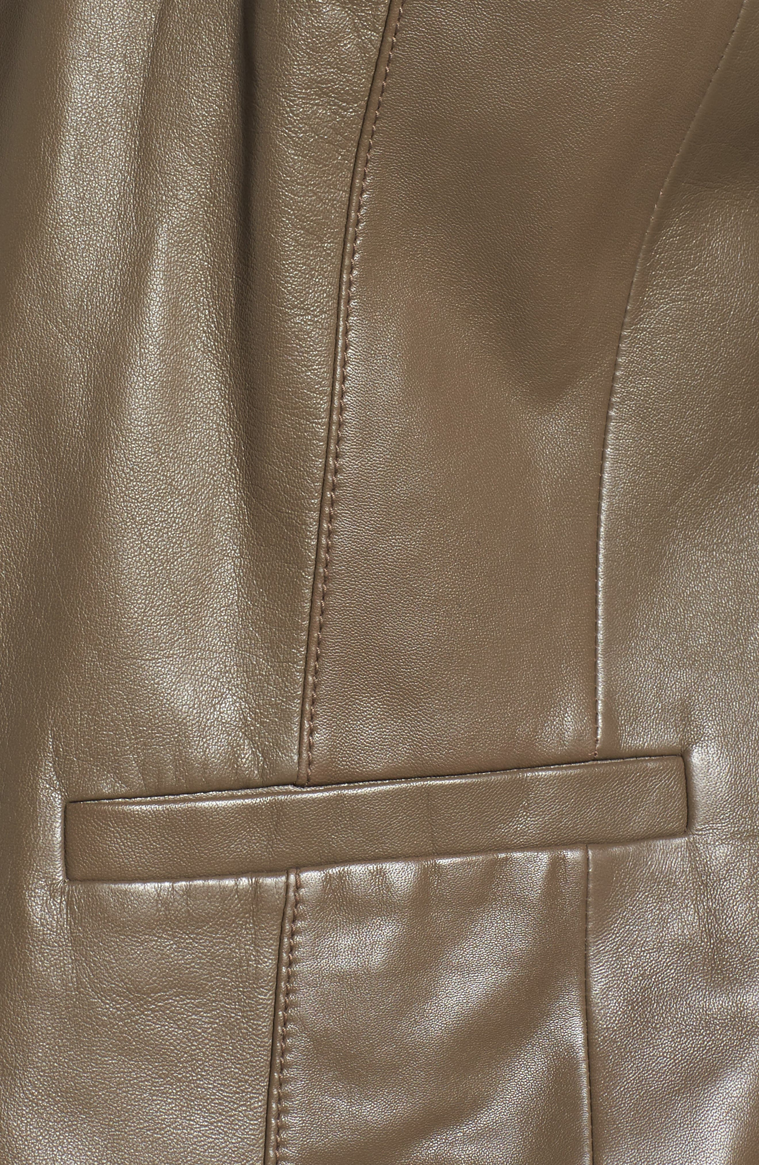 Leather Blazer,                             Alternate thumbnail 5, color,                             Olive Grey
