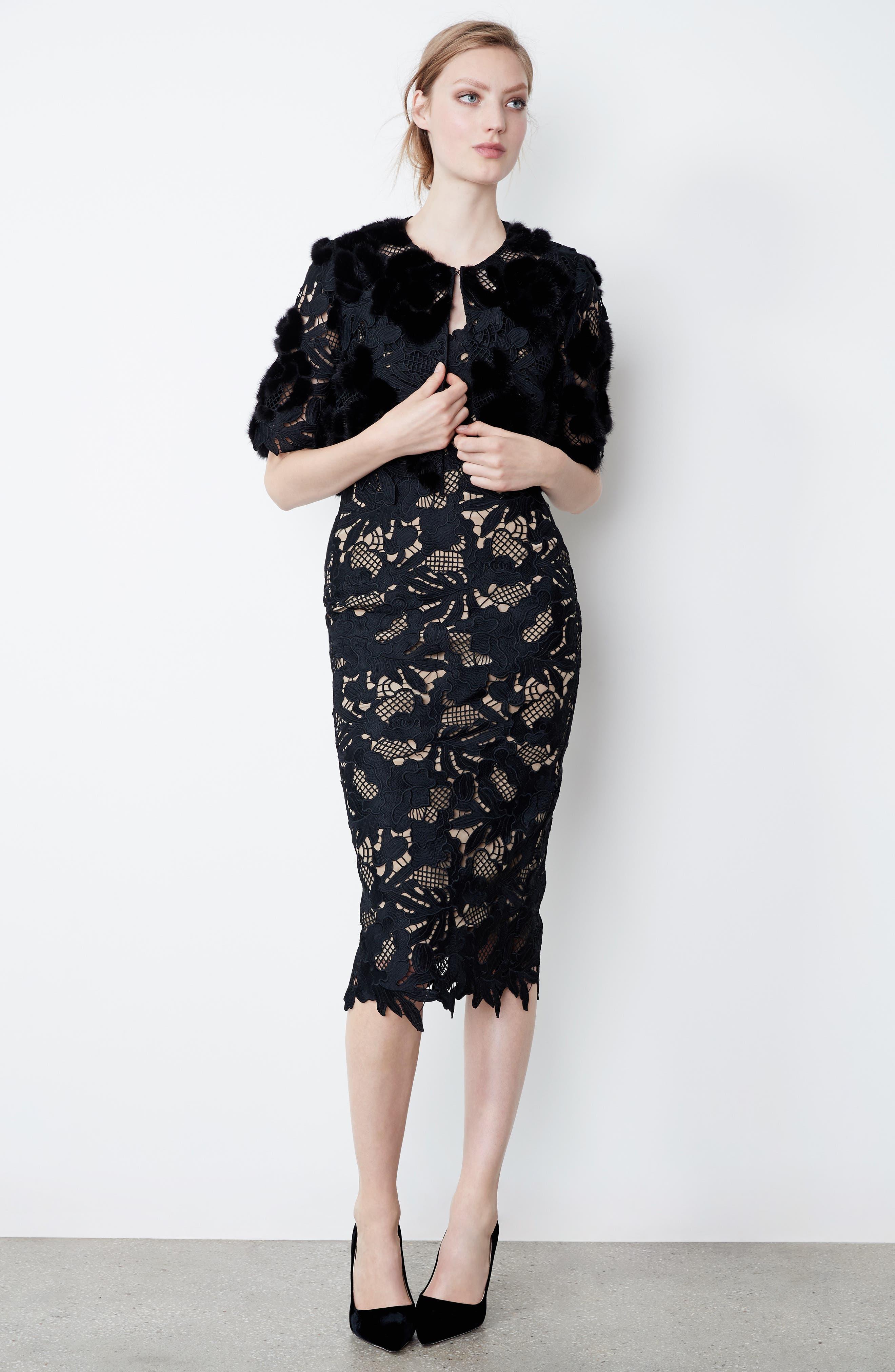 Lace Sheath Dress,                             Alternate thumbnail 9, color,                             Black
