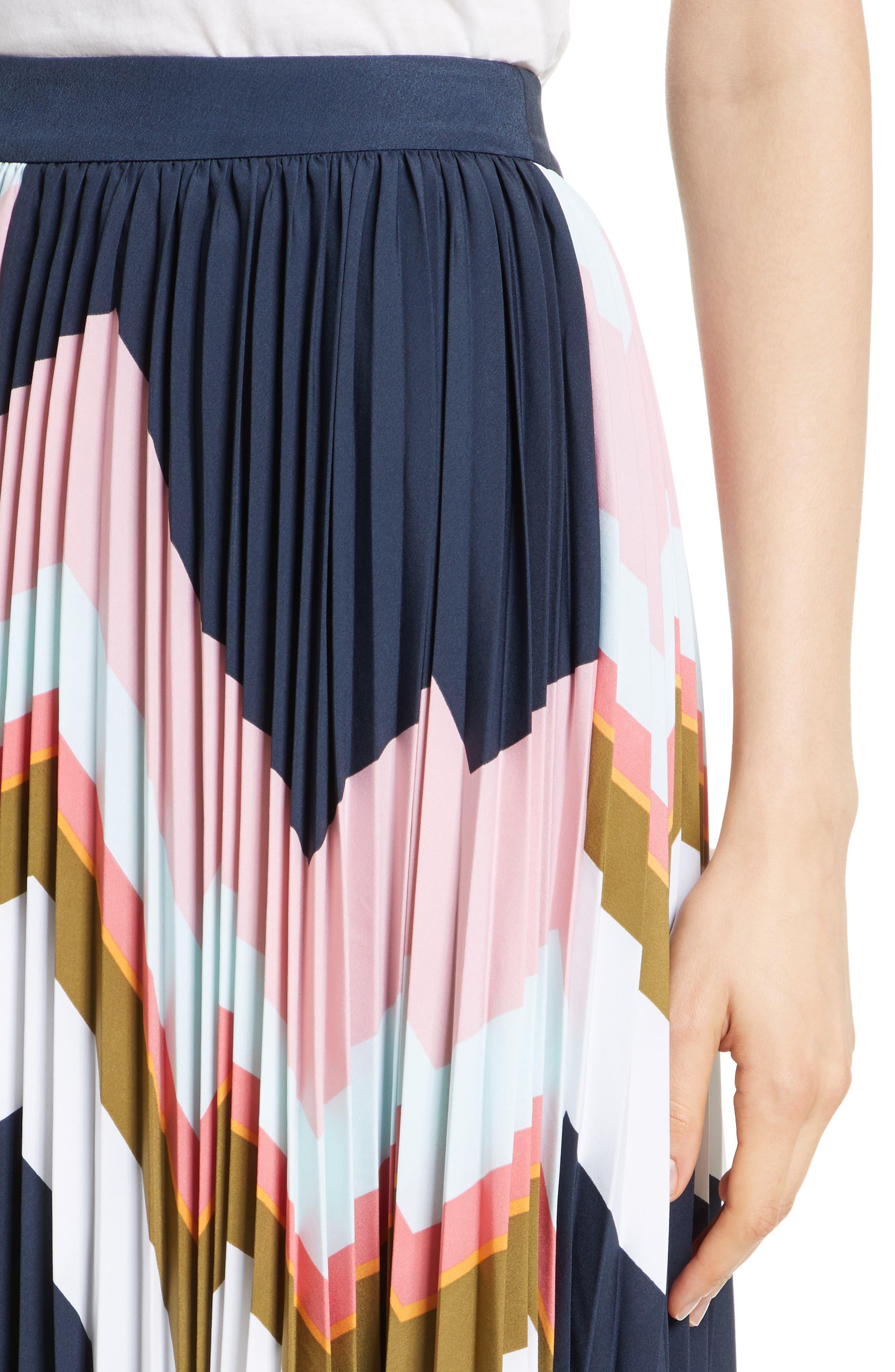 Evianna Mississippi Print Pleated Skirt,                             Alternate thumbnail 4, color,                             Navy