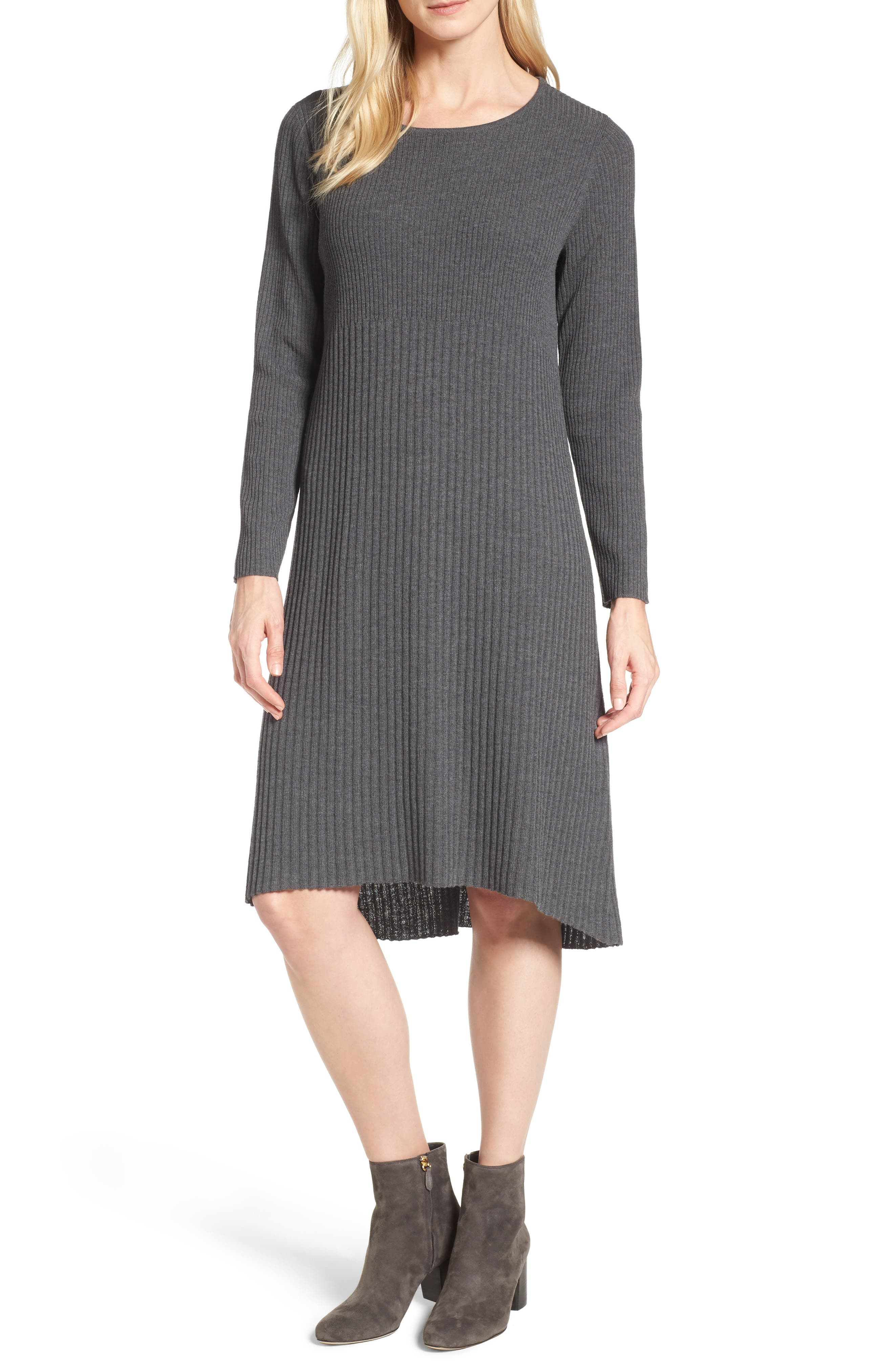 Ribbed Wool Sweater Dress,                         Main,                         color, Bark