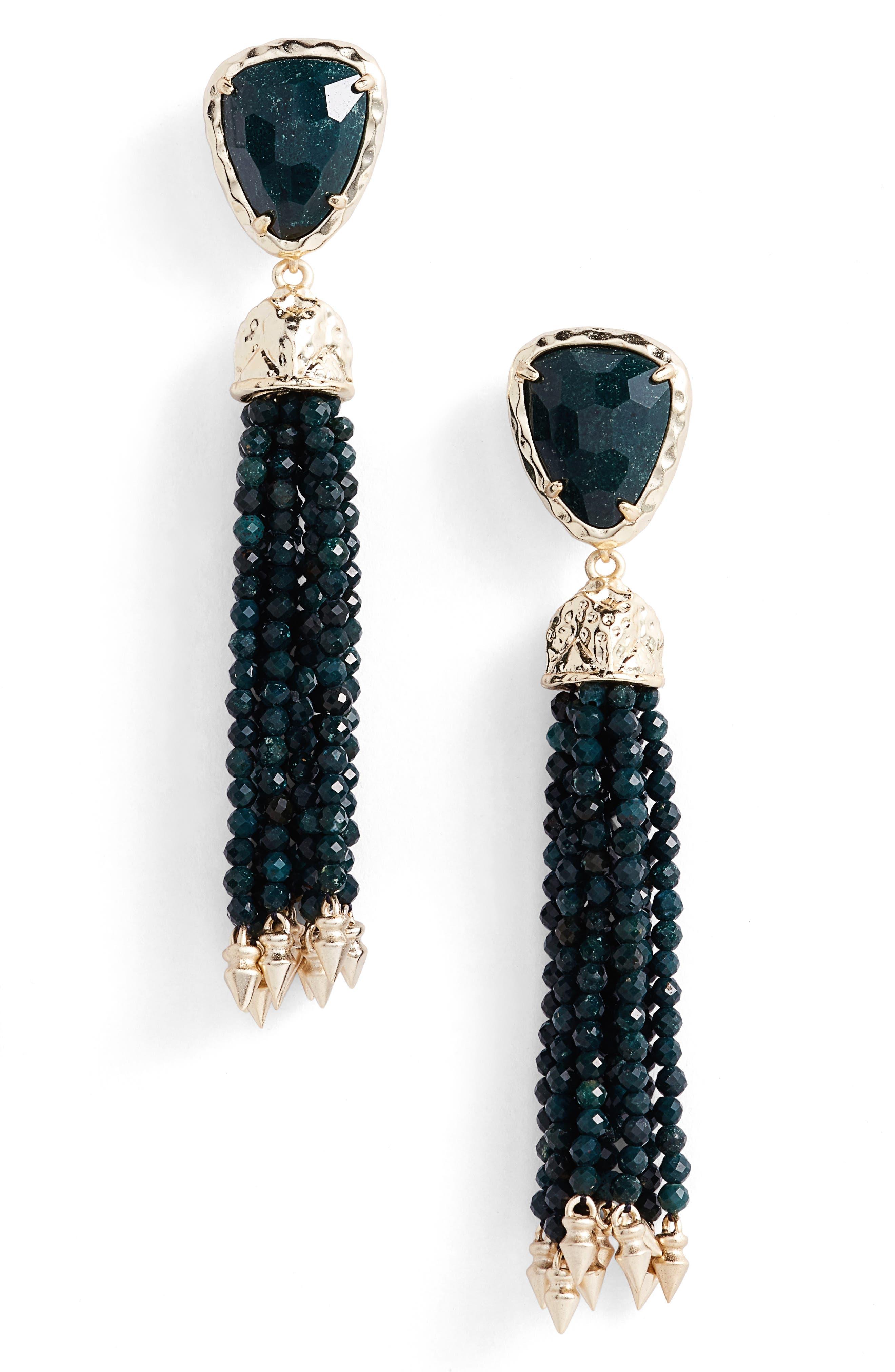 Blossom Tassel Drop Earrings,                         Main,                         color, Green Ocean Jasper/ Gold