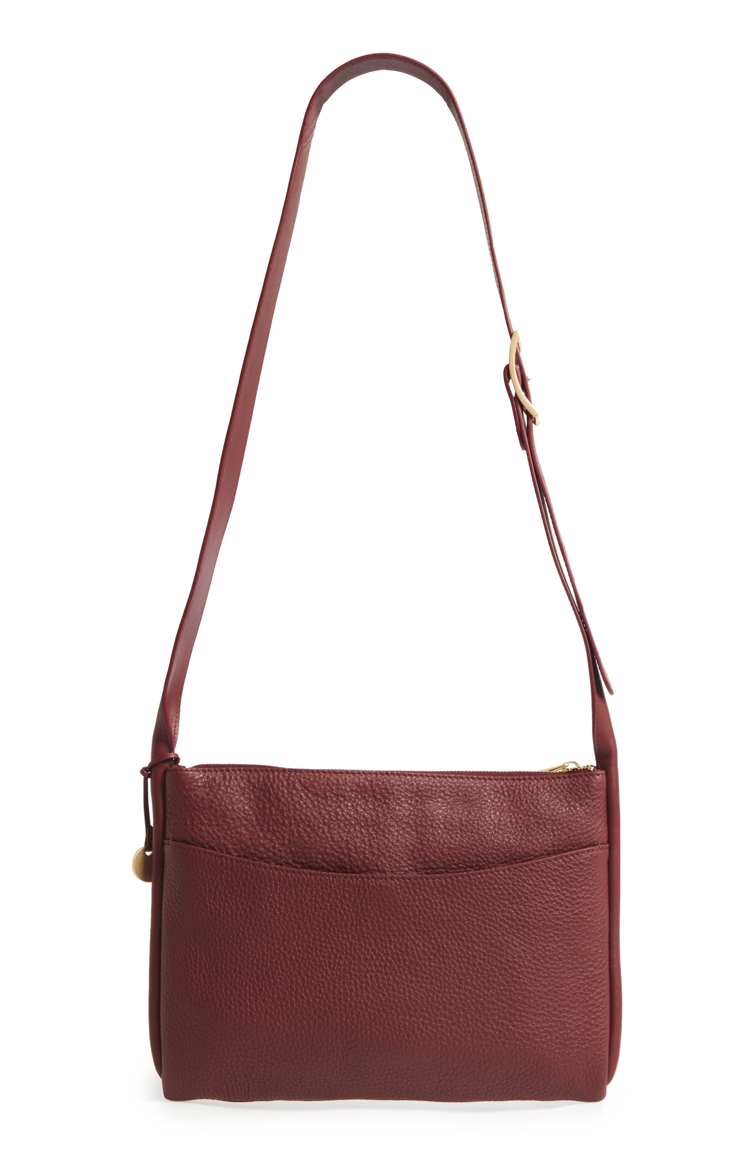 Slim Anesa Leather Crossbody Bag,                             Alternate thumbnail 2, color,                             Cordovan