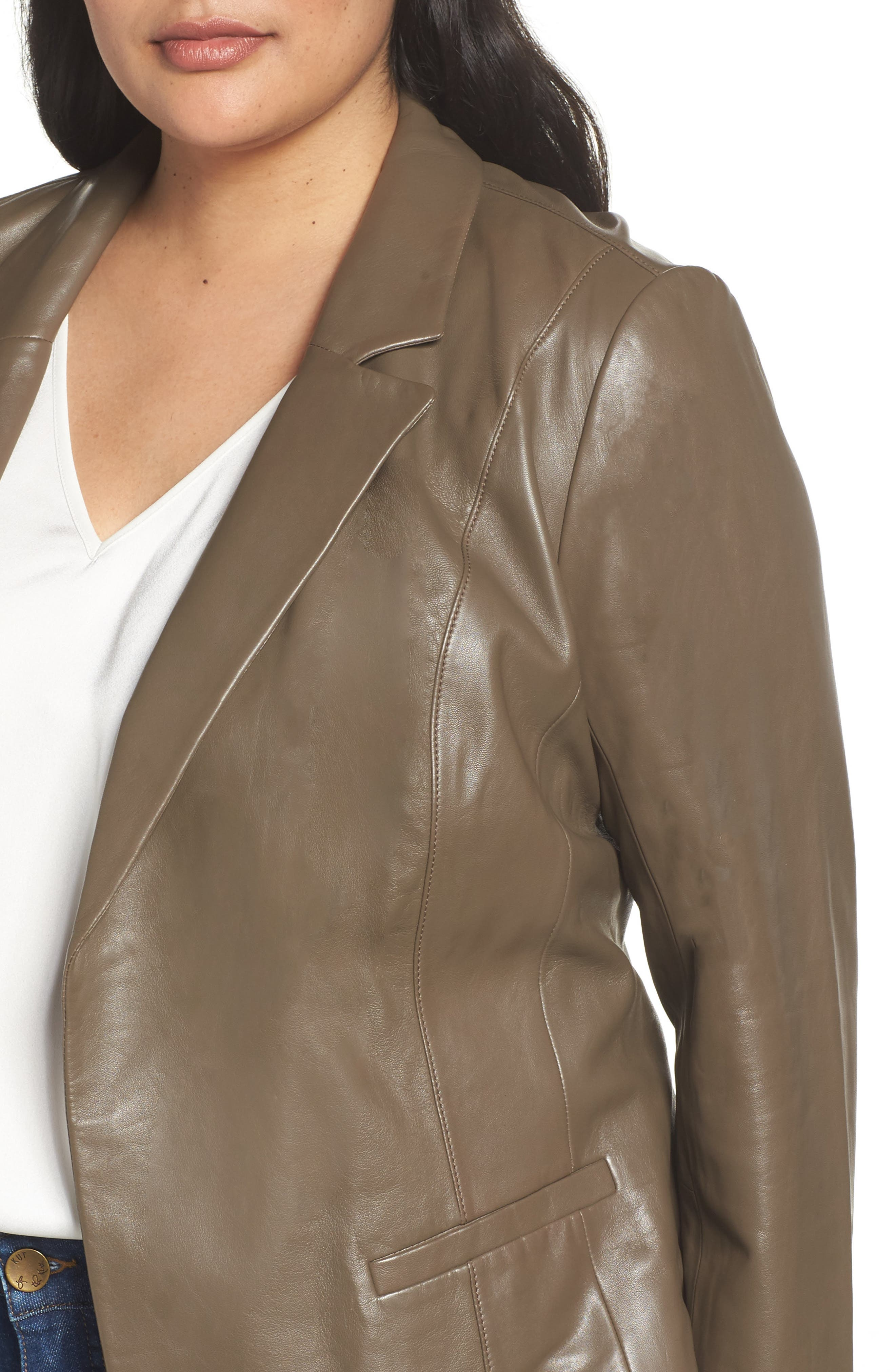 Leather Blazer,                             Alternate thumbnail 4, color,                             Olive Grey