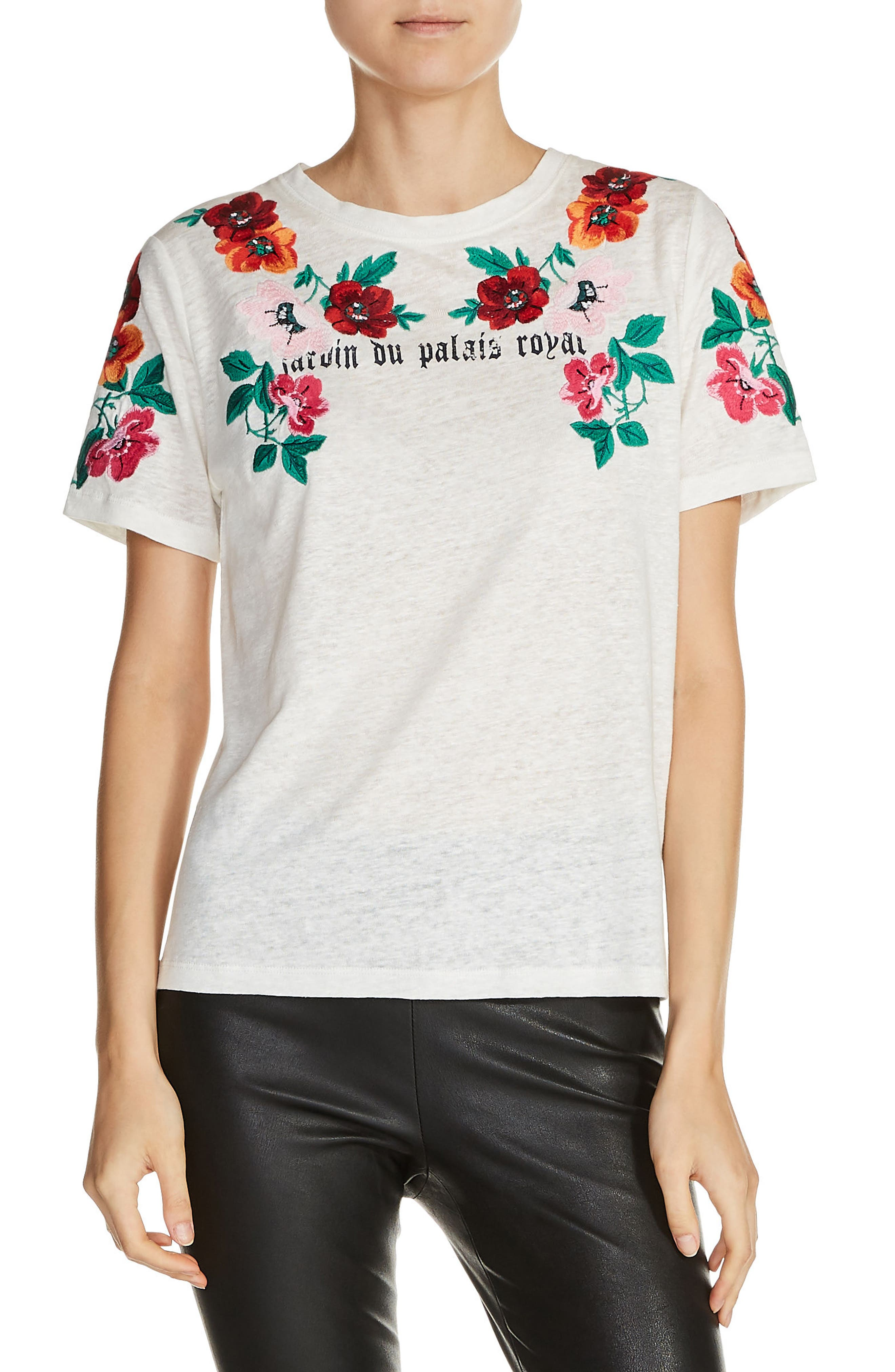 Floral Embroidered Linen Tee,                         Main,                         color, Ecru