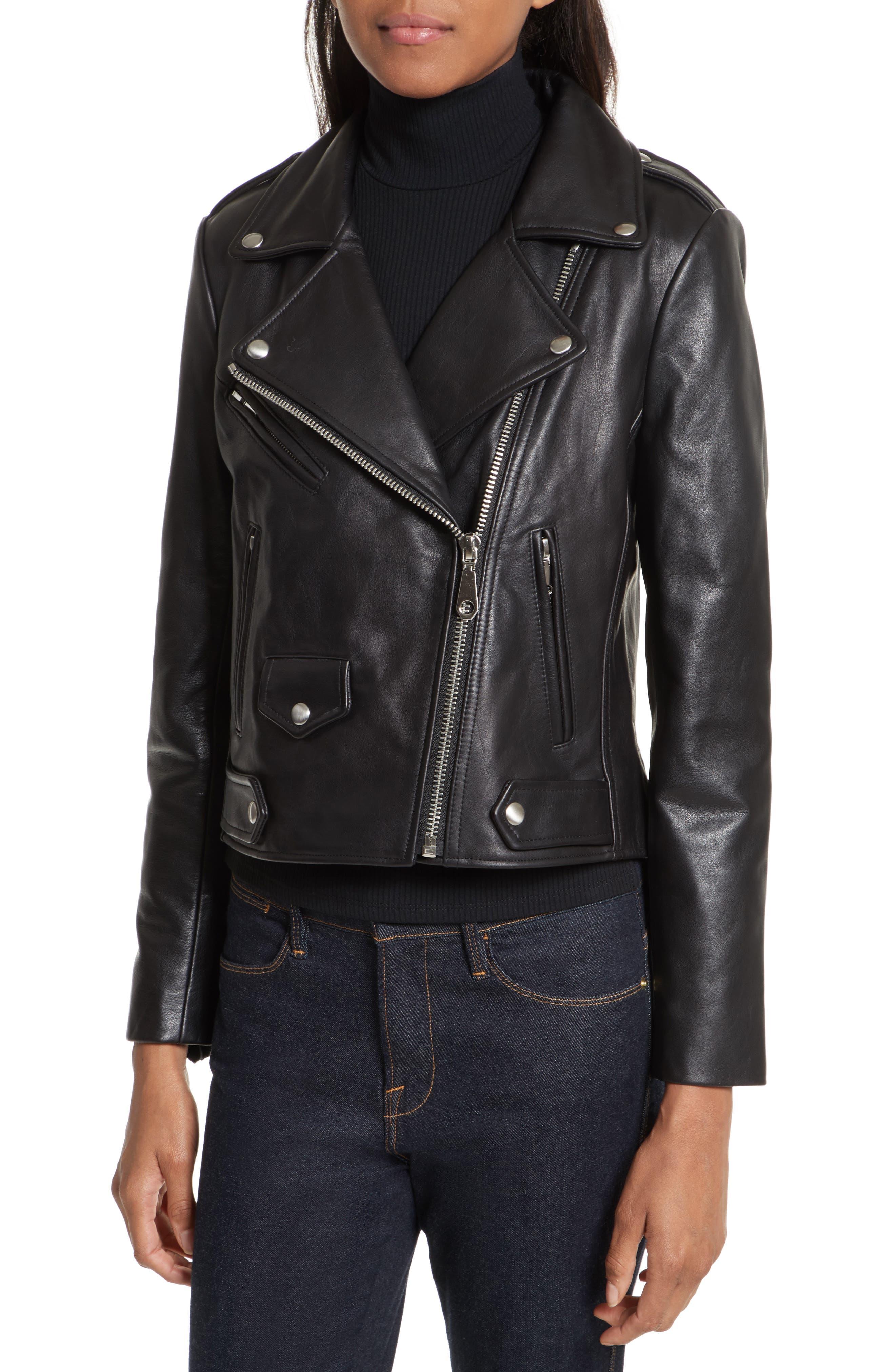 Wes Leather Moto Jacket,                             Alternate thumbnail 4, color,                             Black