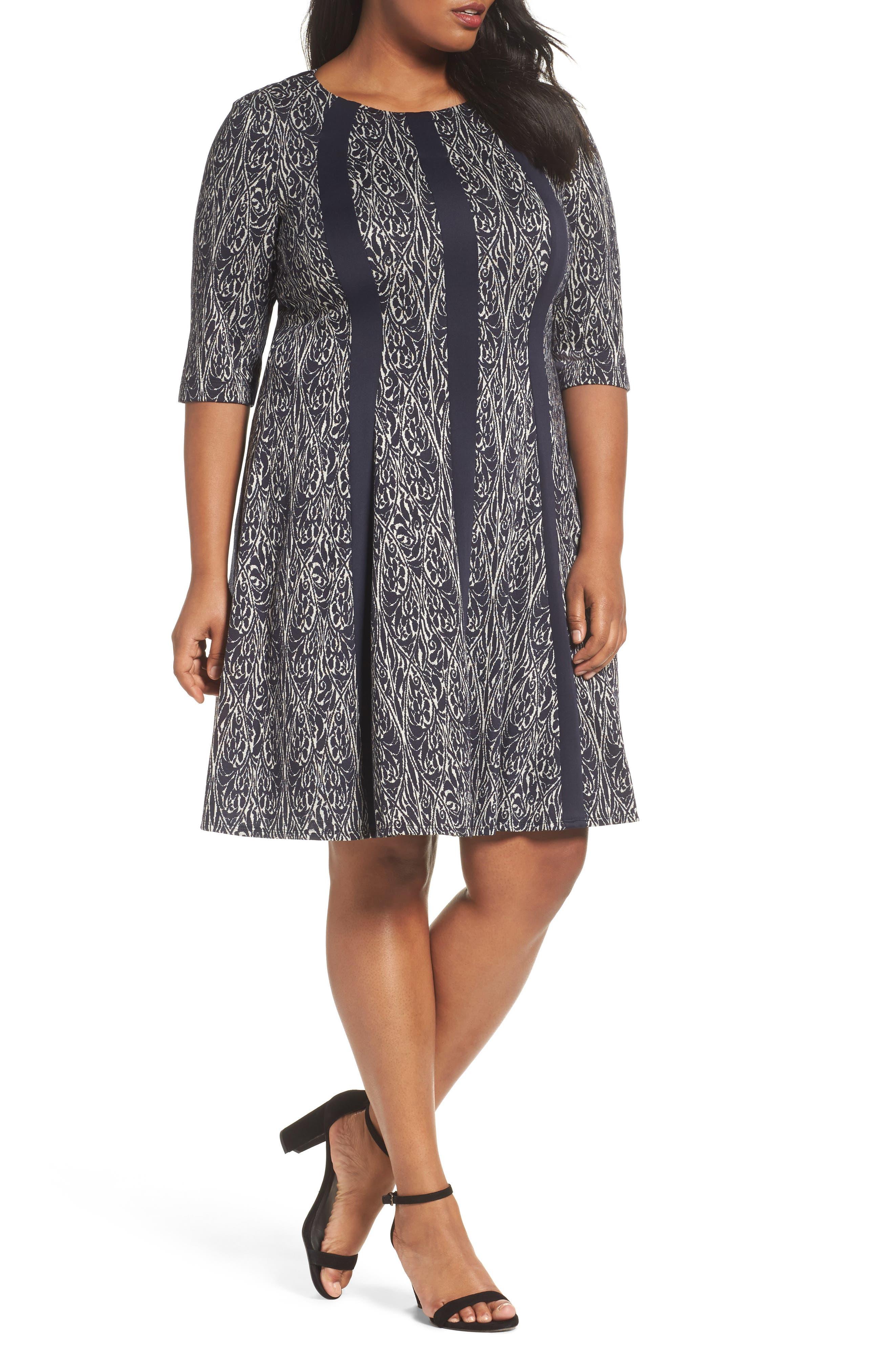 Jacquard Knit A-Line Dress,                         Main,                         color, Navy/ Ivory