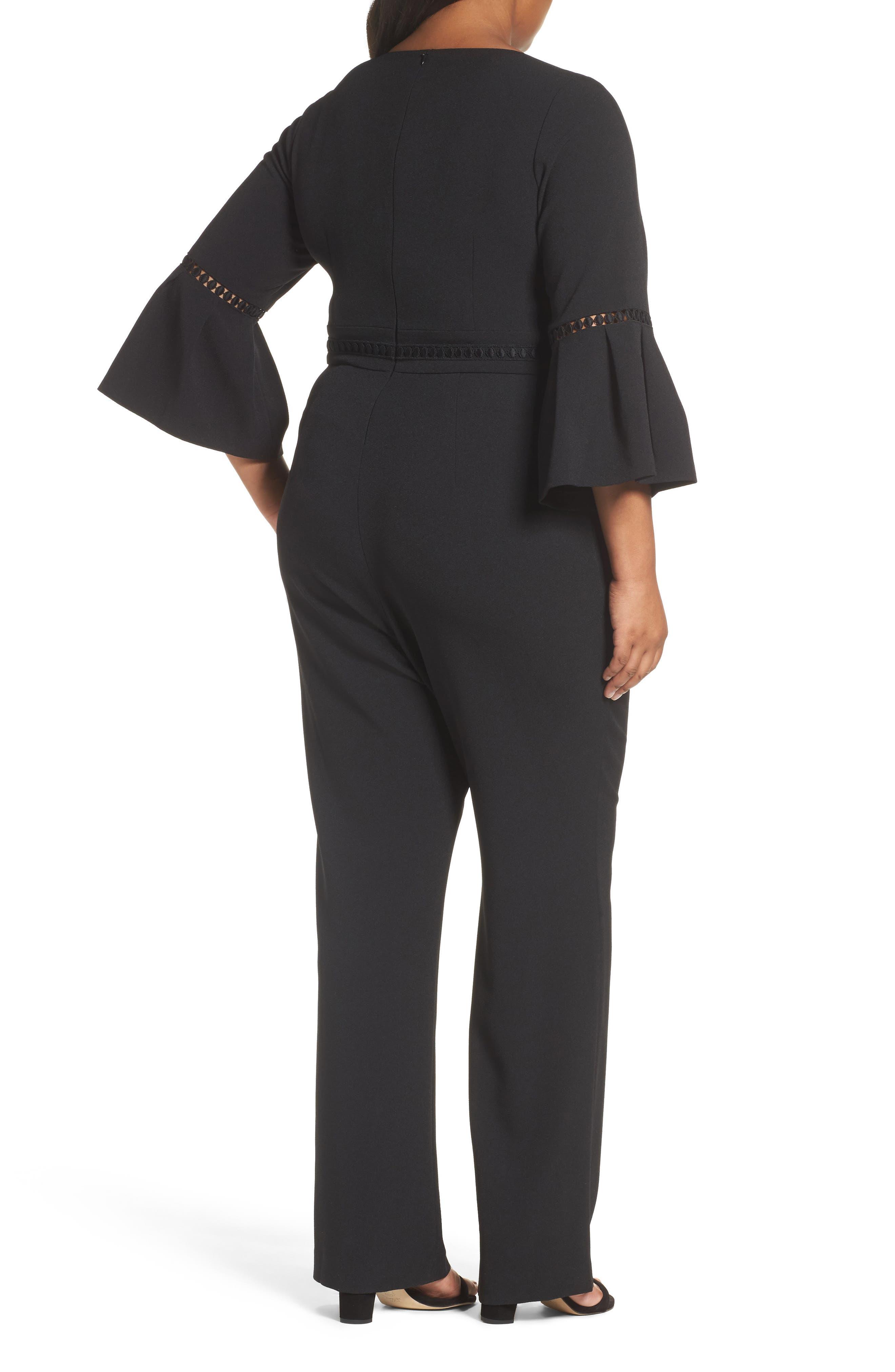Alternate Image 2  - Eliza J Bell Sleeve Jumpsuit (Plus Size)